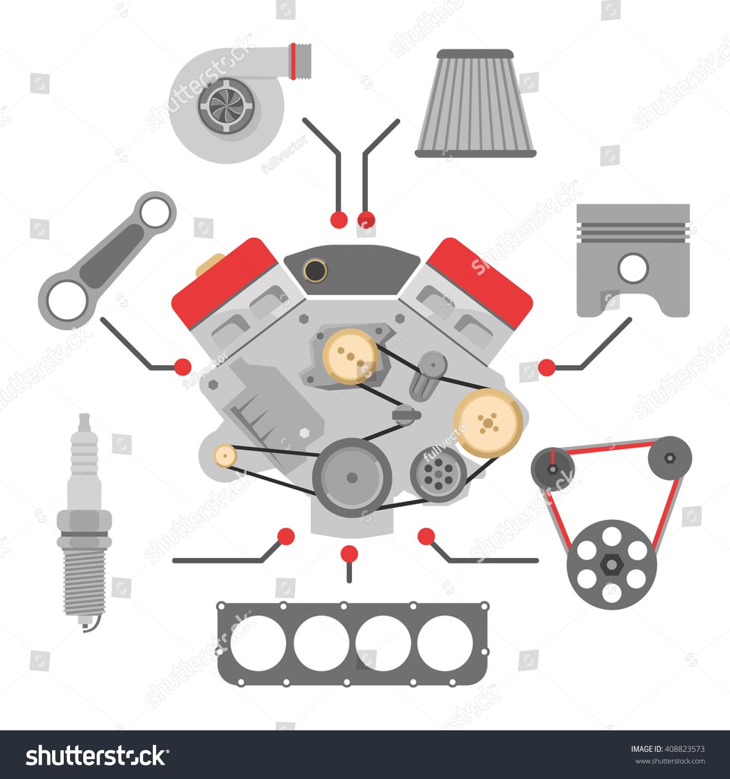 Locomotive Spare Parts : Spare parts vector icon set auto stock