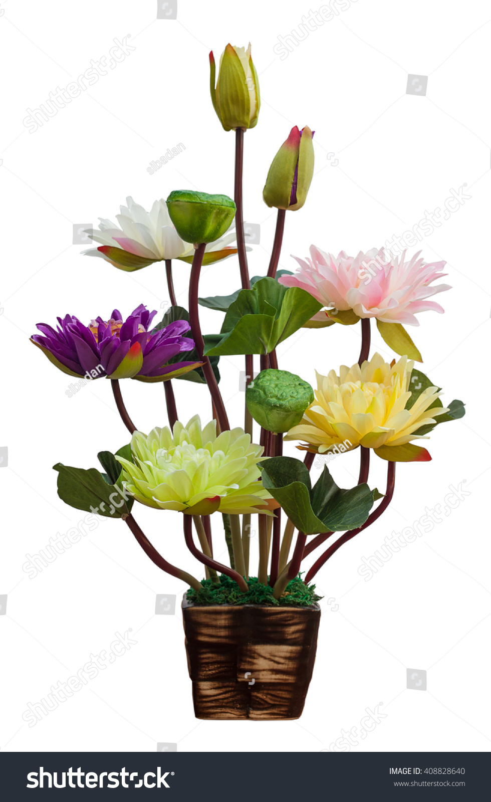 Fake Lotus Flower Isolated On White Stock Photo Edit Now 408828640