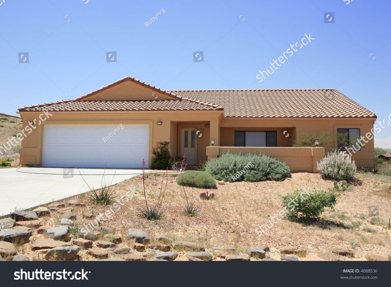 Adobe Stucco Southwestern Style House Stock Photo 4088536