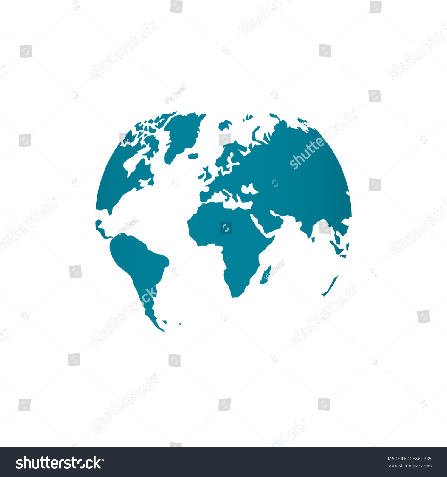 Blue world map globe vector illustration vectores en stock 408869335 blue world map globe vector illustration isolated on white background stylized in sphere shape gumiabroncs