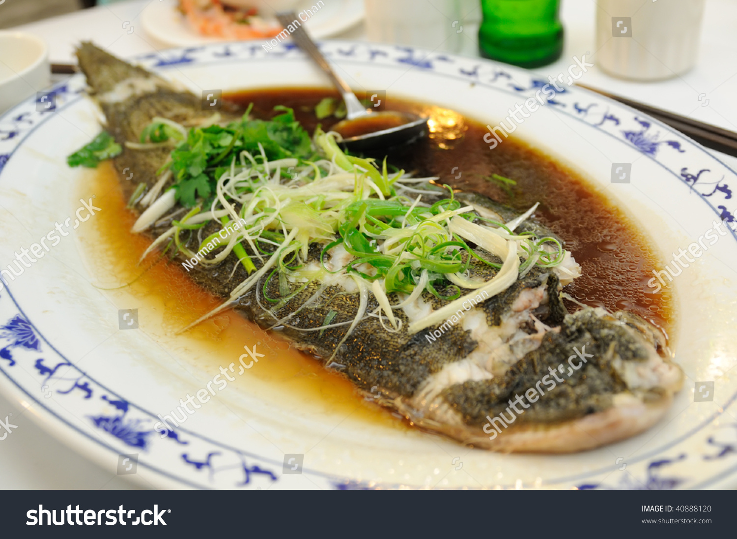 Chinese cuisine steamed fish with soy sauce stock photo for Soy sauce fish