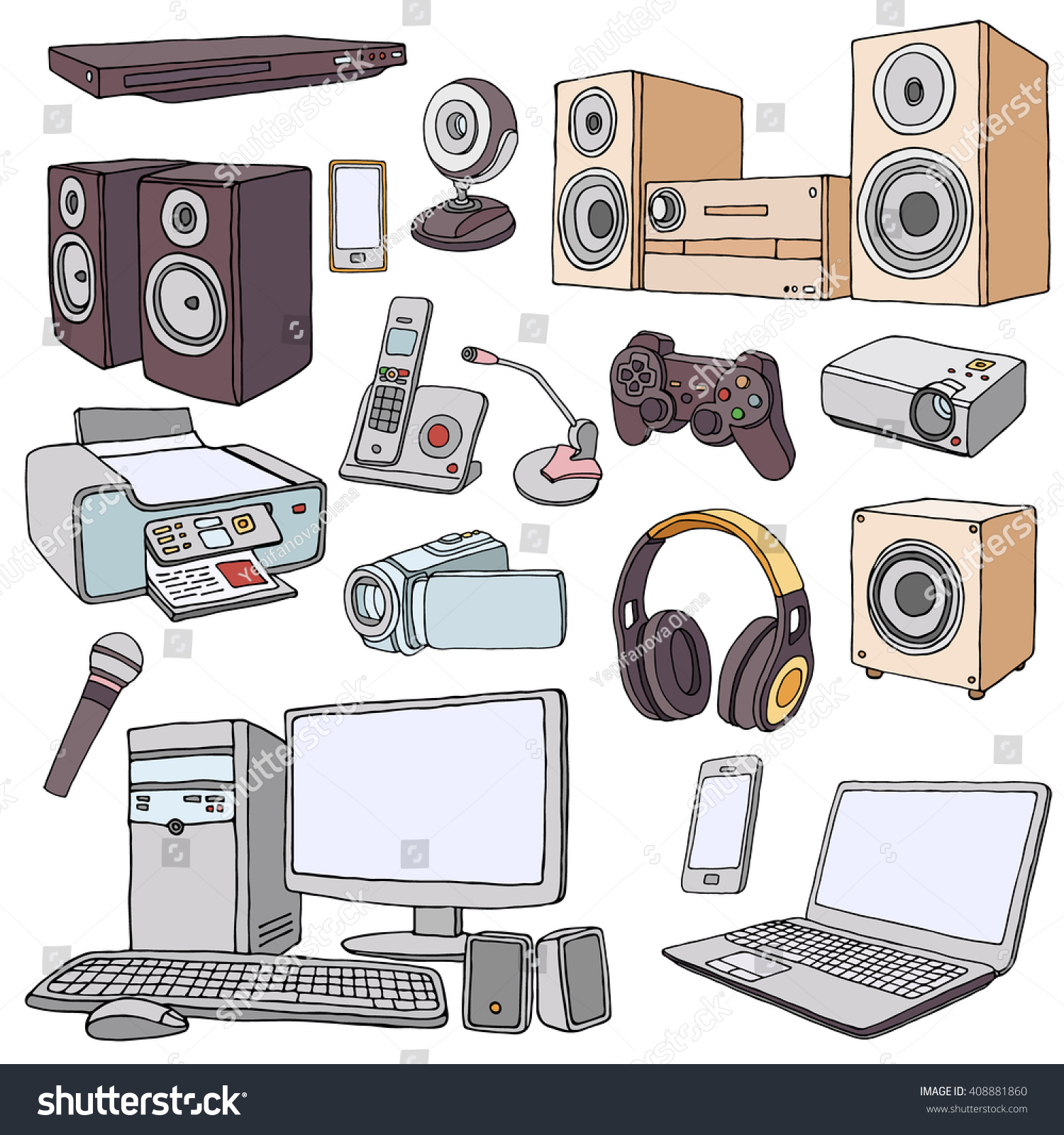 living room appliances. Audio Visual System Appliances for Living Room  Doodle illustration of audio video equipment Stock Vector 408881860