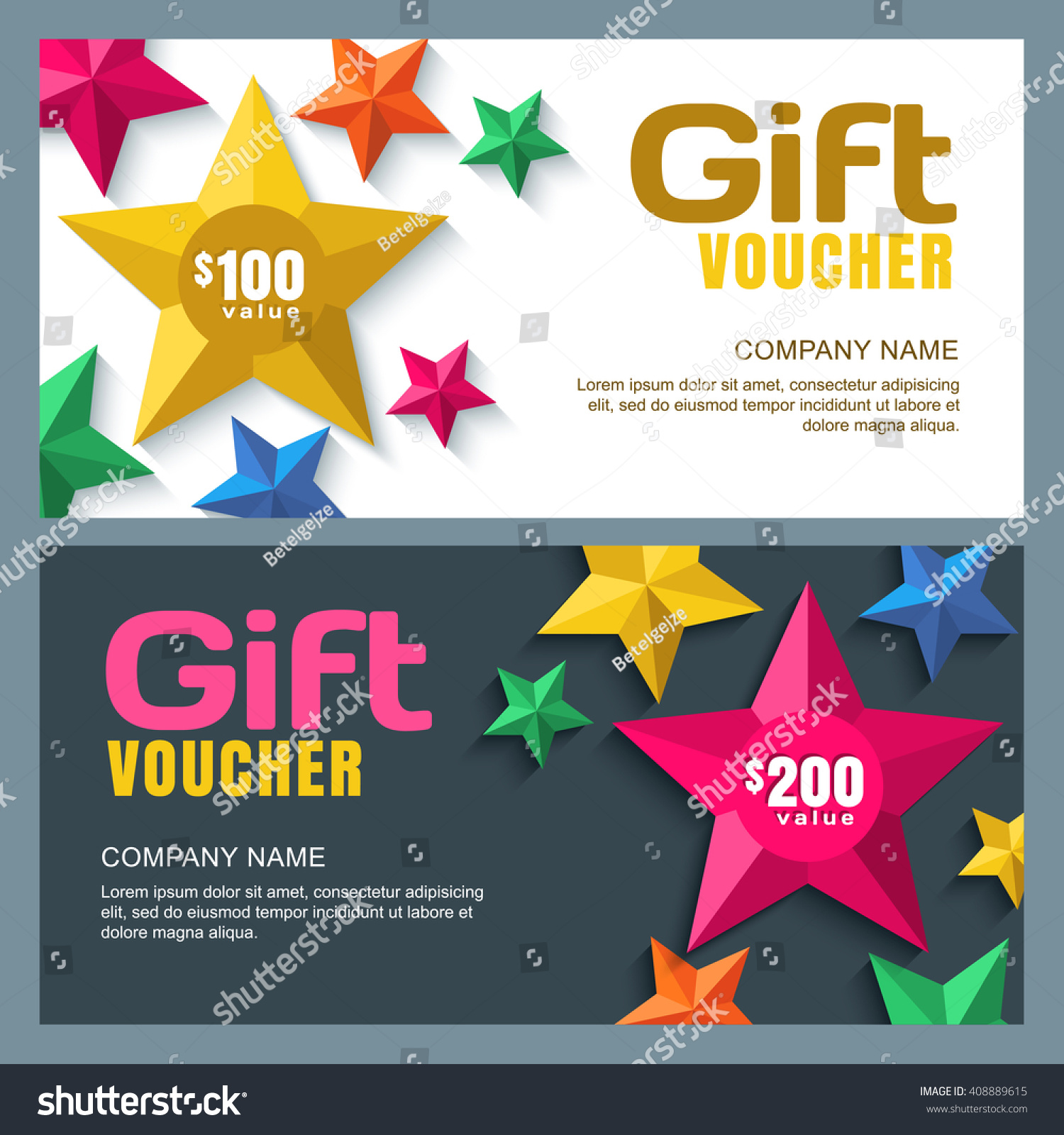 vector gift voucher template 3d stylized paper stars holiday save to a lightbox
