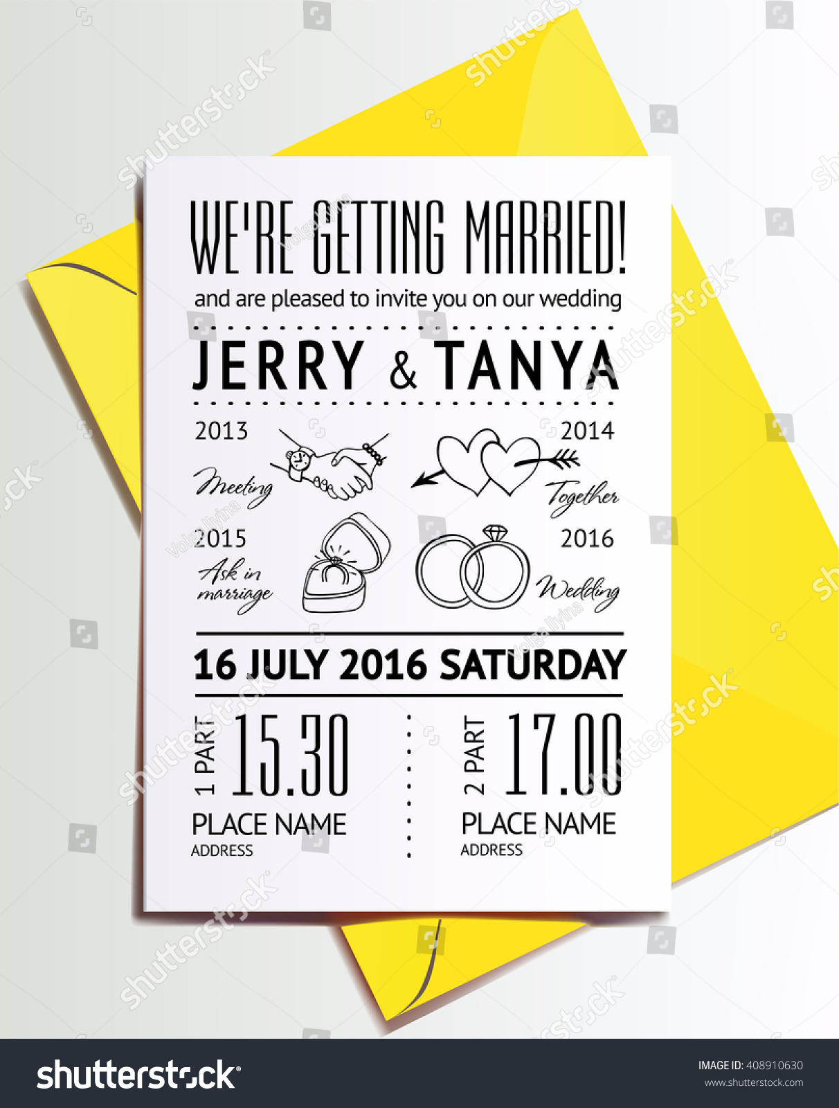 Wedding Invitation Template Drawn Infographics