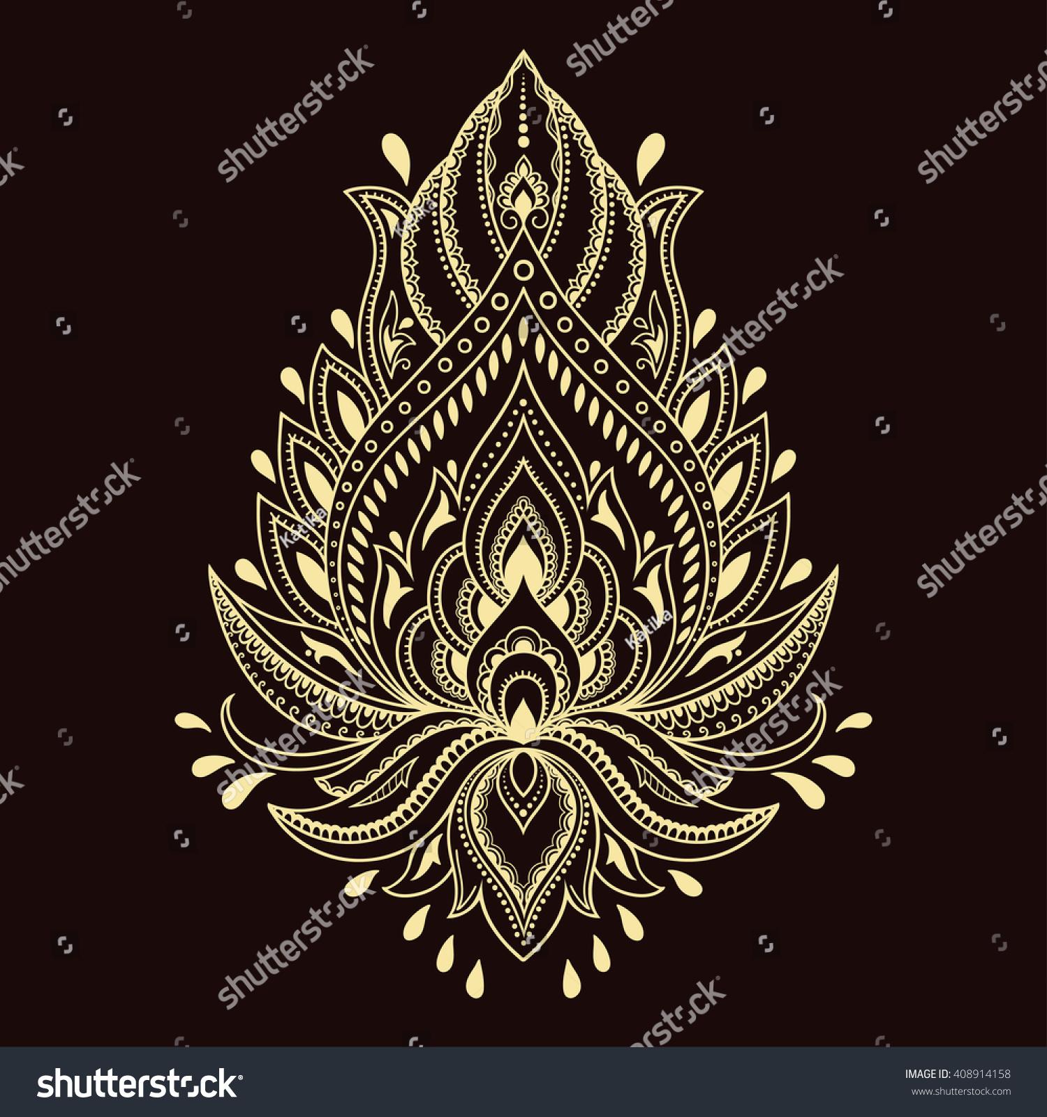 Royalty Free Mehndi Lotus Flower Pattern For Henna 408914158 Stock