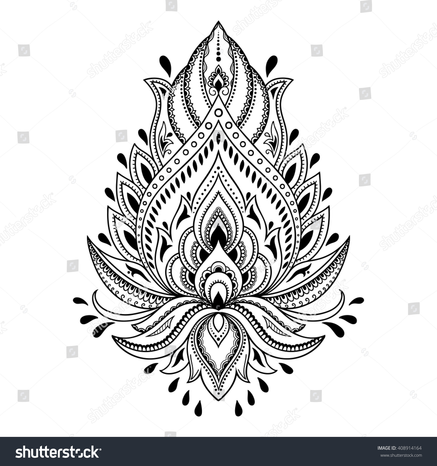 Henna tattoo flower template in Indian style Ethnic floral paisley Lotus Mehndi style