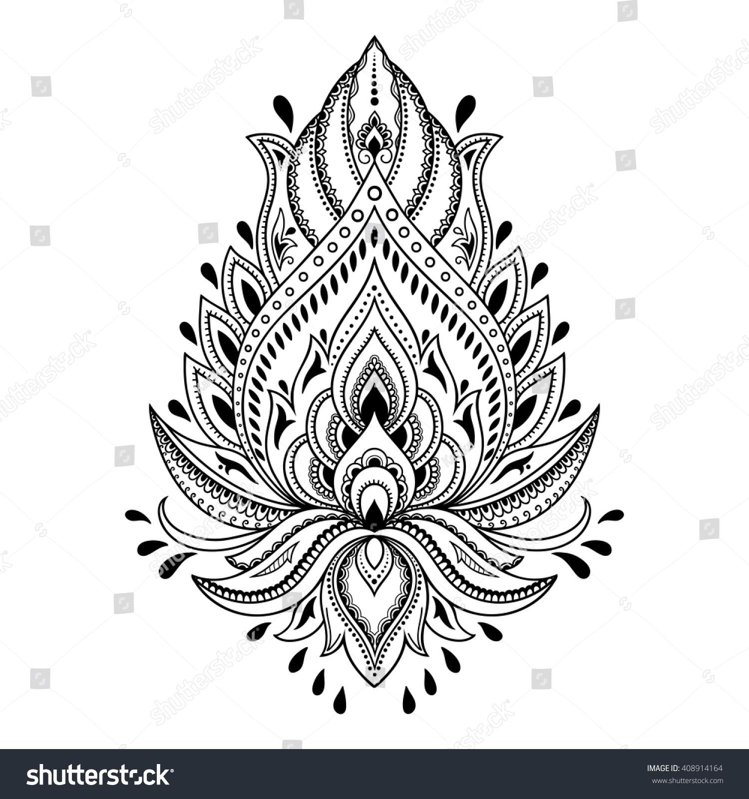 Indian Henna Tattoo Designs: Henna Tattoo Flower Template Indian Style Stock Vector