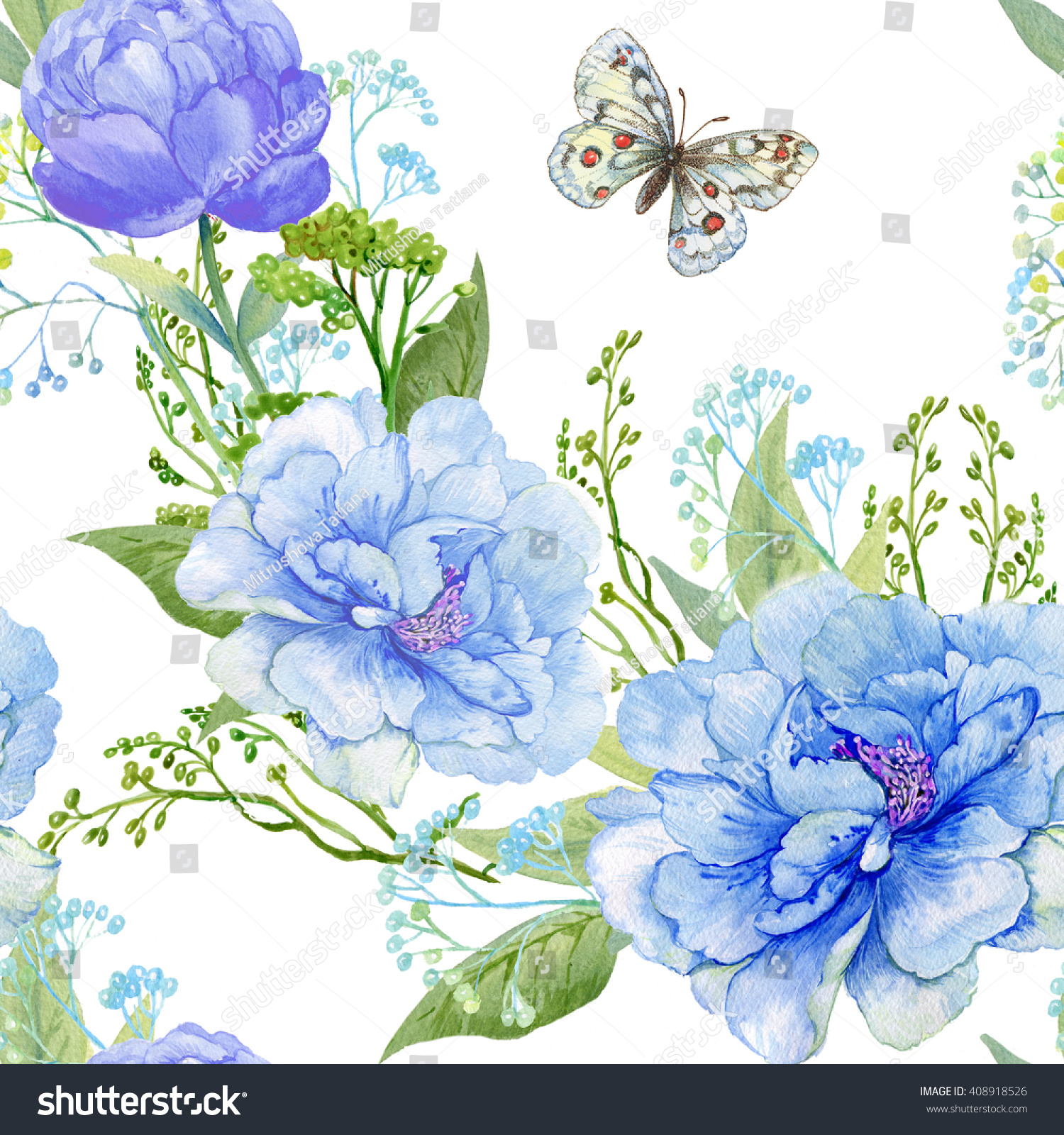 seamless pattern beautiful colors and the butterfly.pattern for fabric Wallpaper.drawing hands watercolor