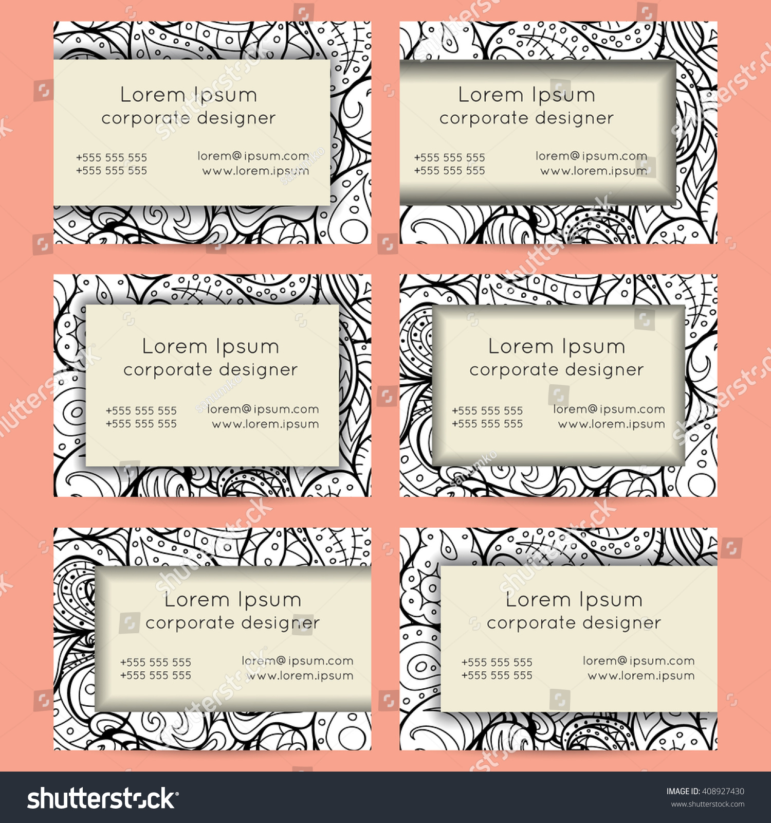 Vector set black white delicate hand stock vector 408927430 vector set of black and white delicate hand drawn boho doodle paisley business card template designs magicingreecefo Images