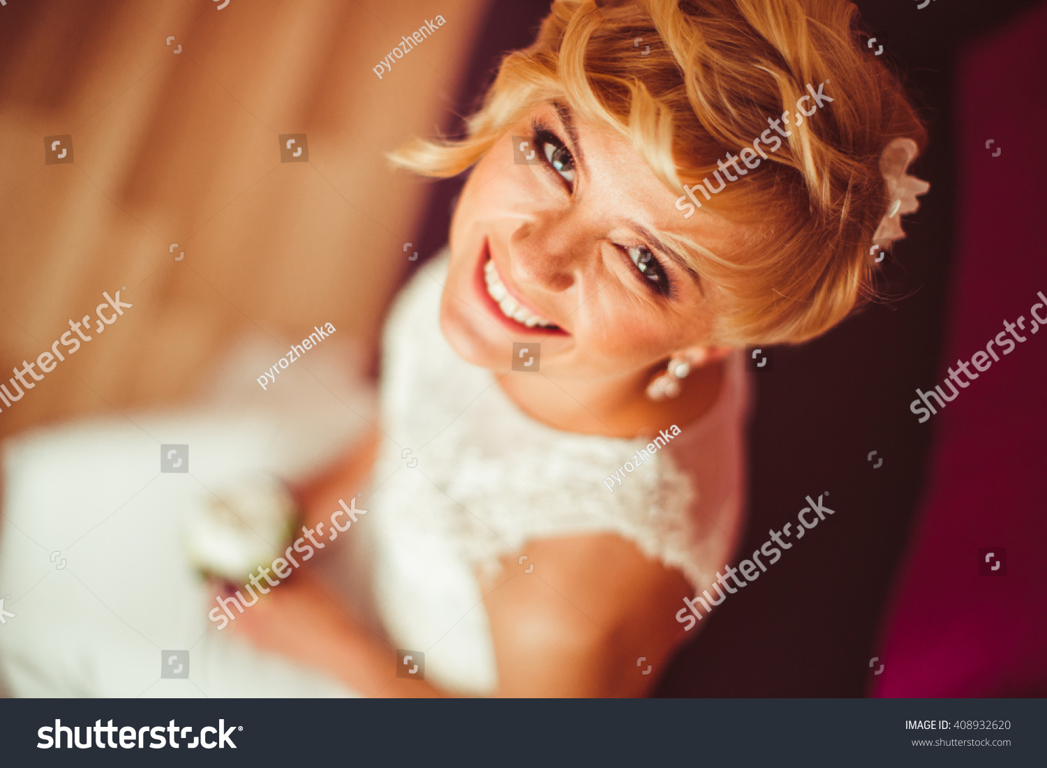smiling happy wonderful bride pose to photographer #408932620