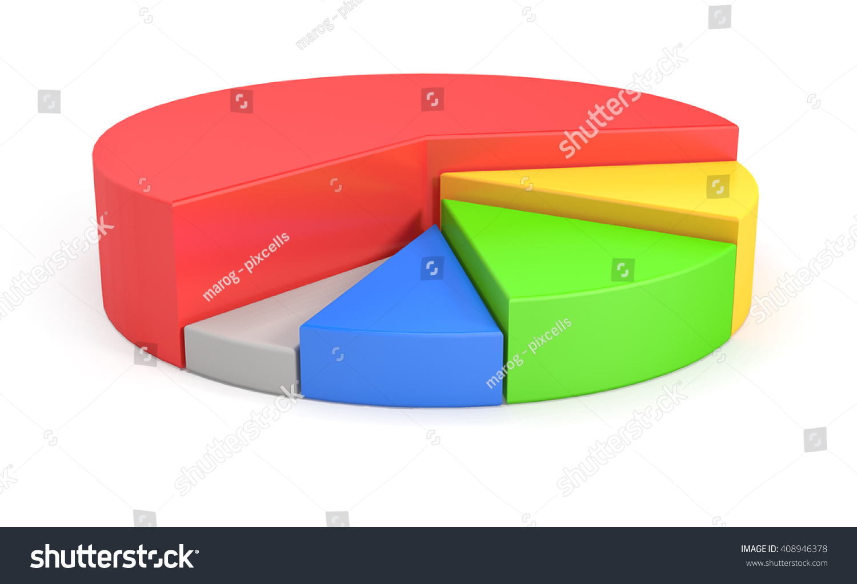 3 D Render Colorful 3 D Pie Chart Stock Illustration 408946378