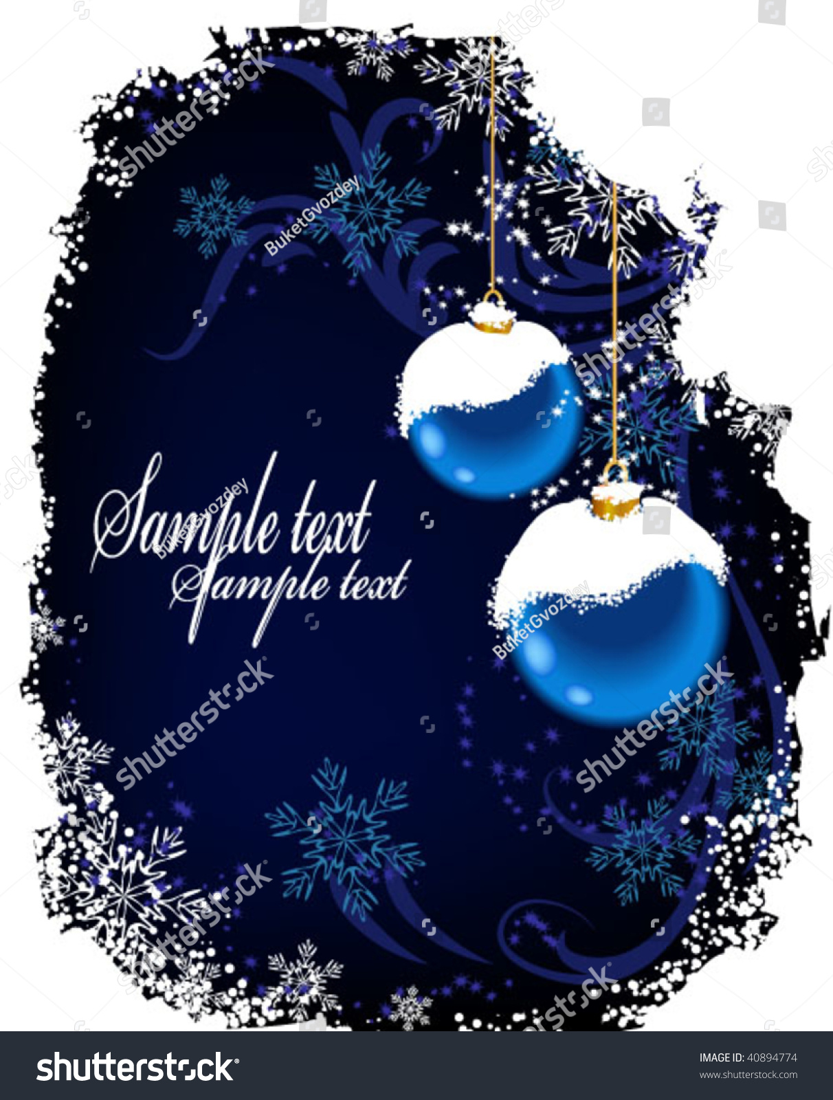 Vertical christmas background with blue balls and