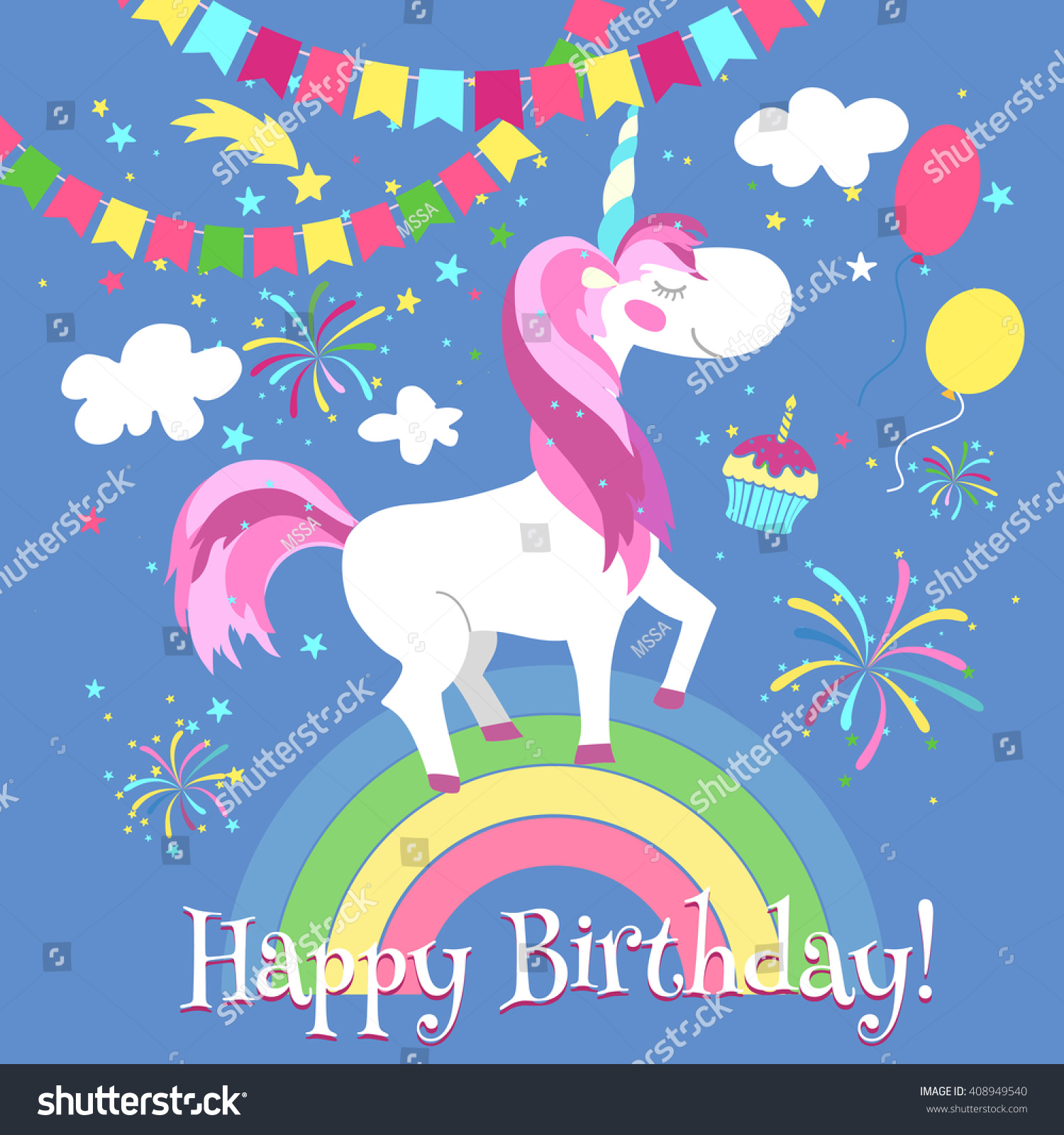 happy birthday card cute unicorn on stock vector, Birthday card