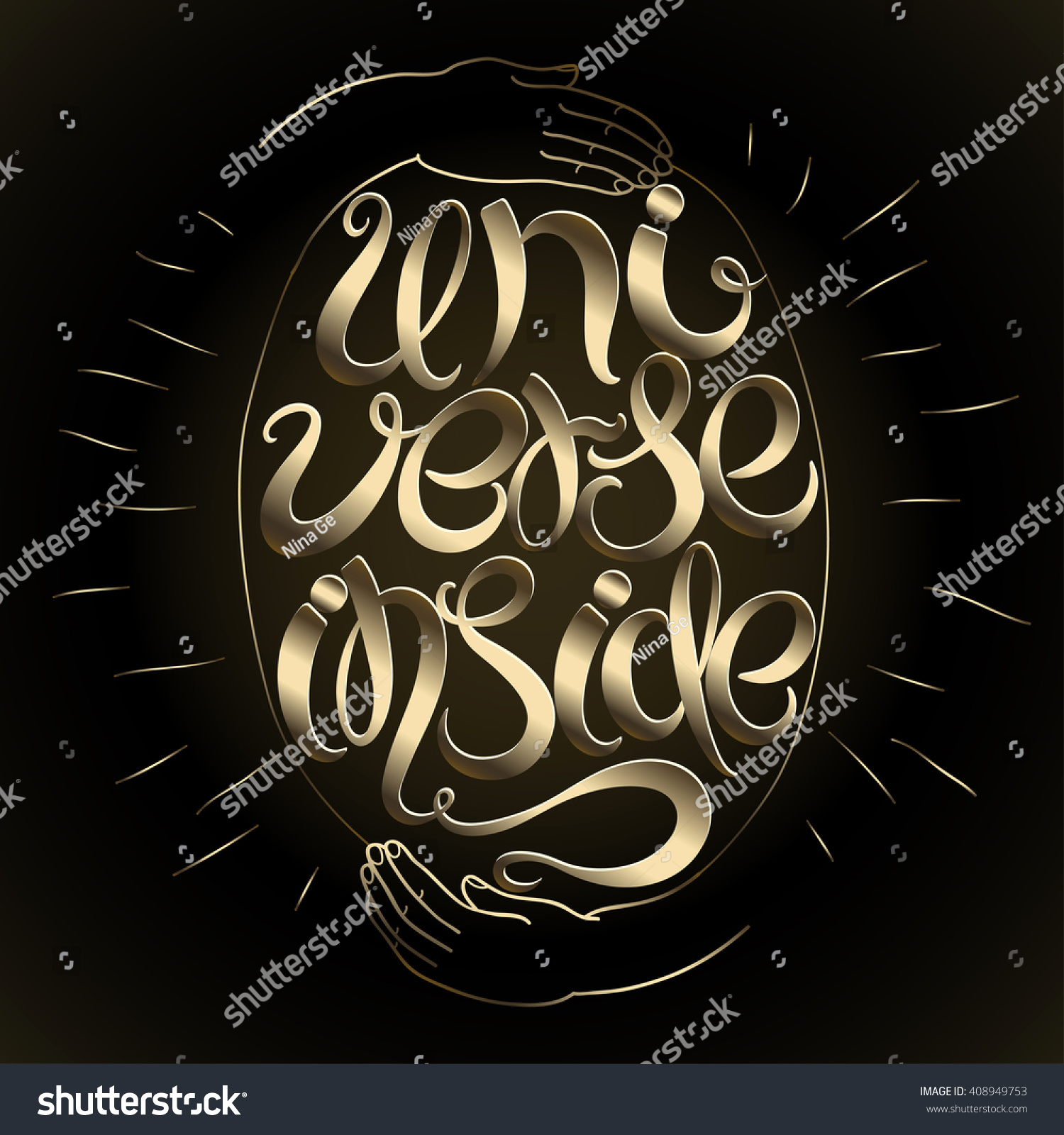 Universe Inside Inscription Greeting Card Calligraphy Stock Vector