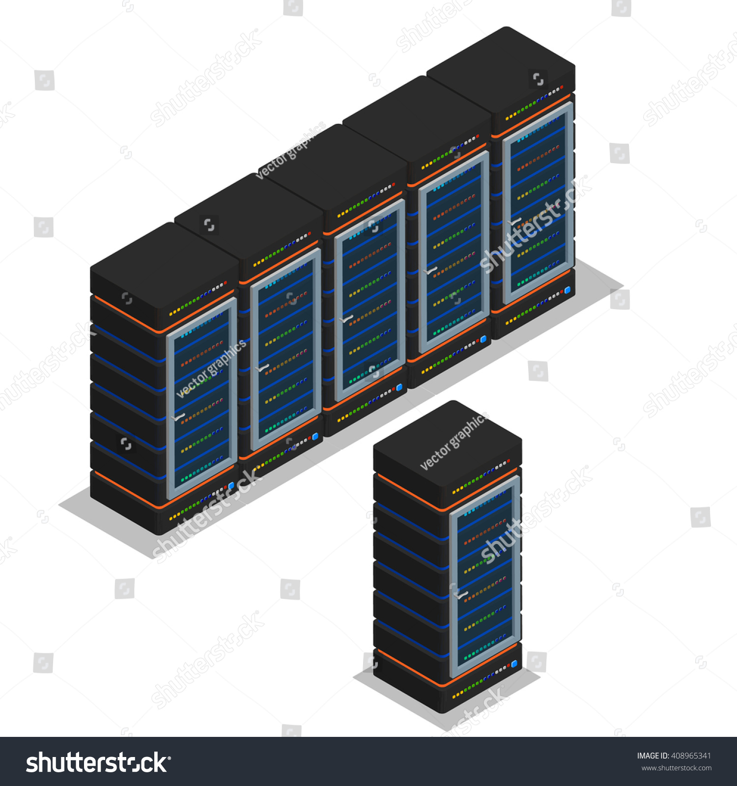 isometric view server room server vector stock vector (royalty free
