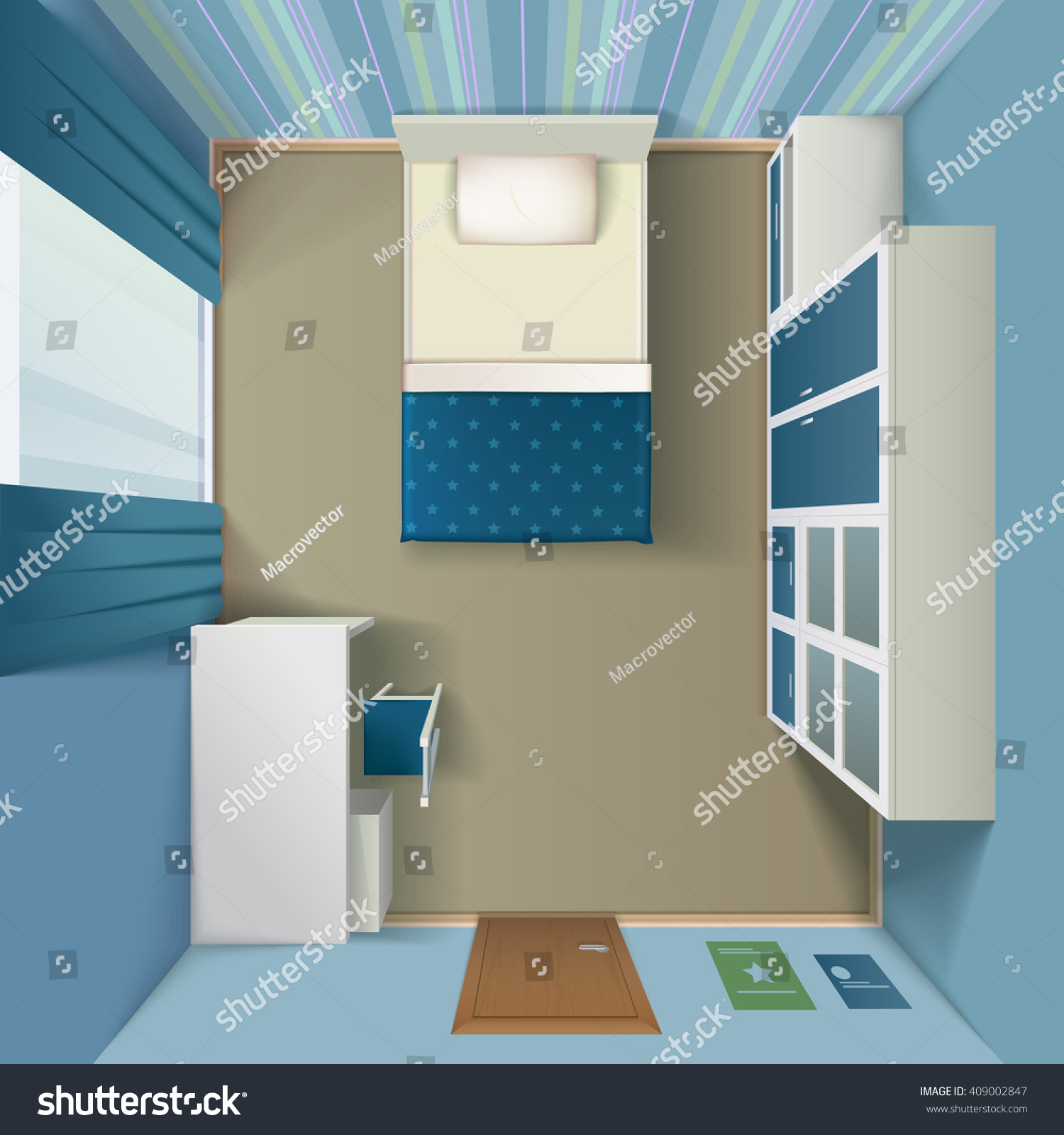 Single bedroom top view - Modern Bedroom Interior Design With Queen Size Bed And White Single Wardrobe Top View Realistic Vector