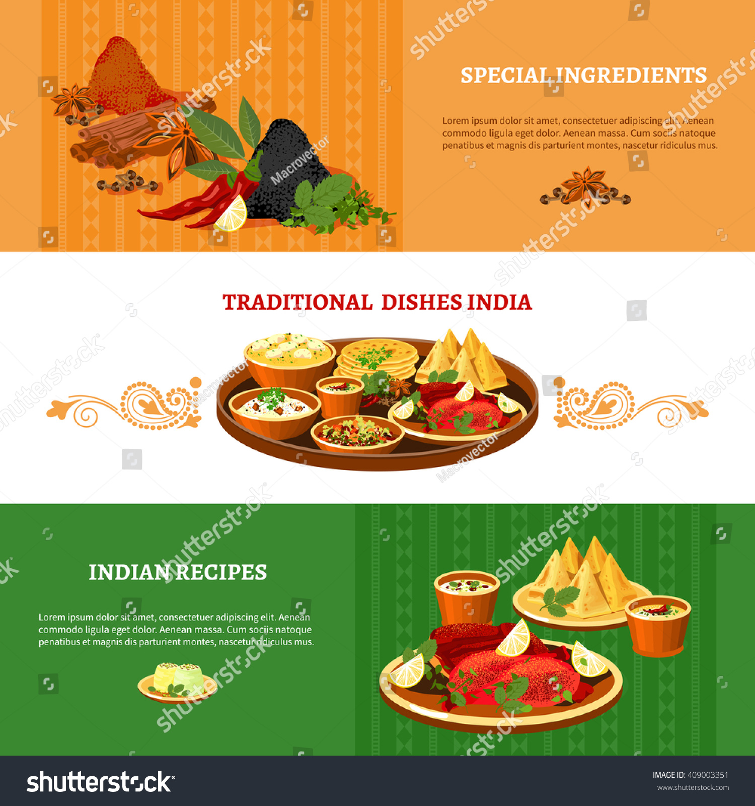 Indian cuisine 3 flat banners set stock vector 409003351 for Aroma indian cuisine coupon