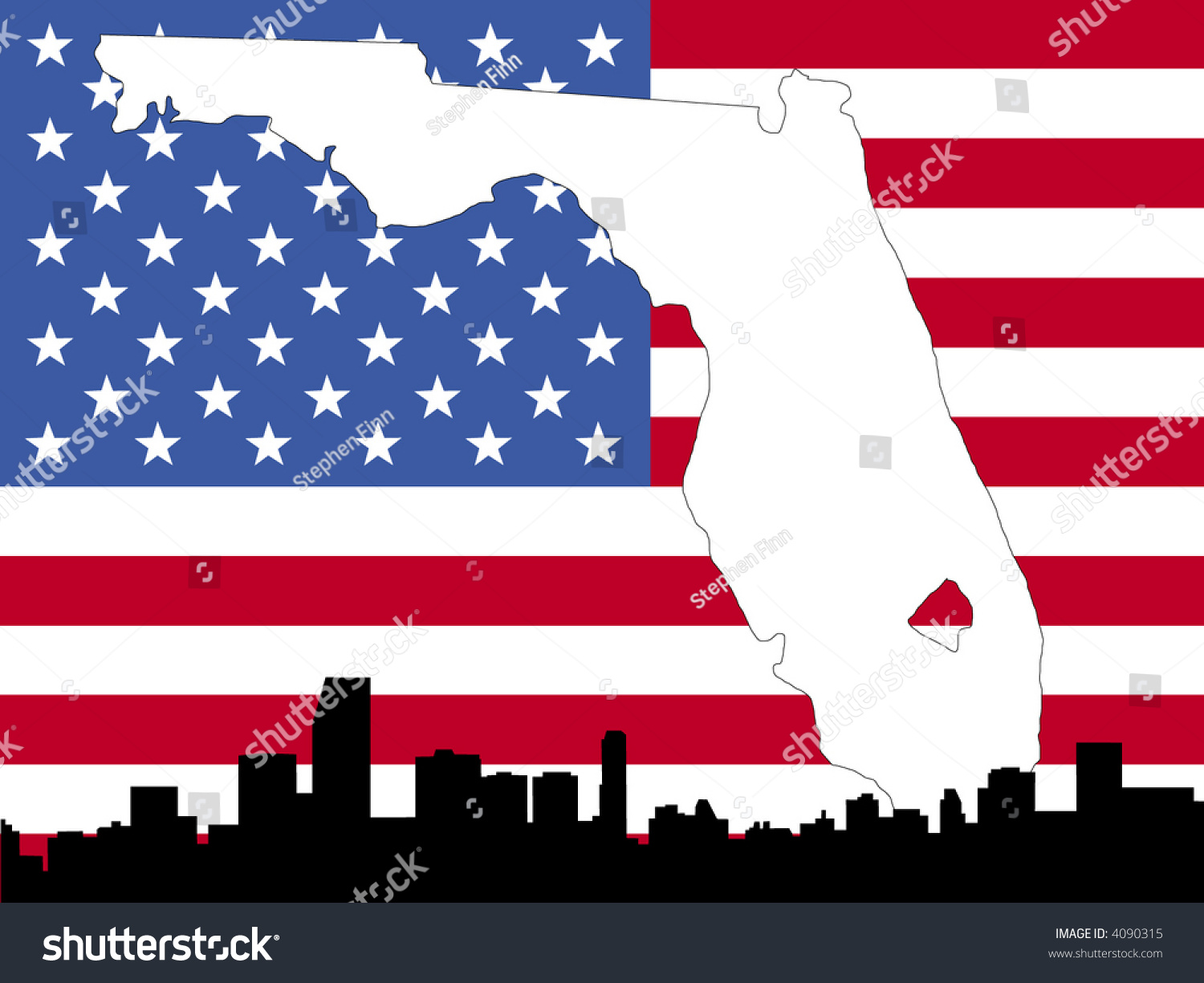 Map Florida On American Flag Miami Stock Vector  Shutterstock - Map of miami florida