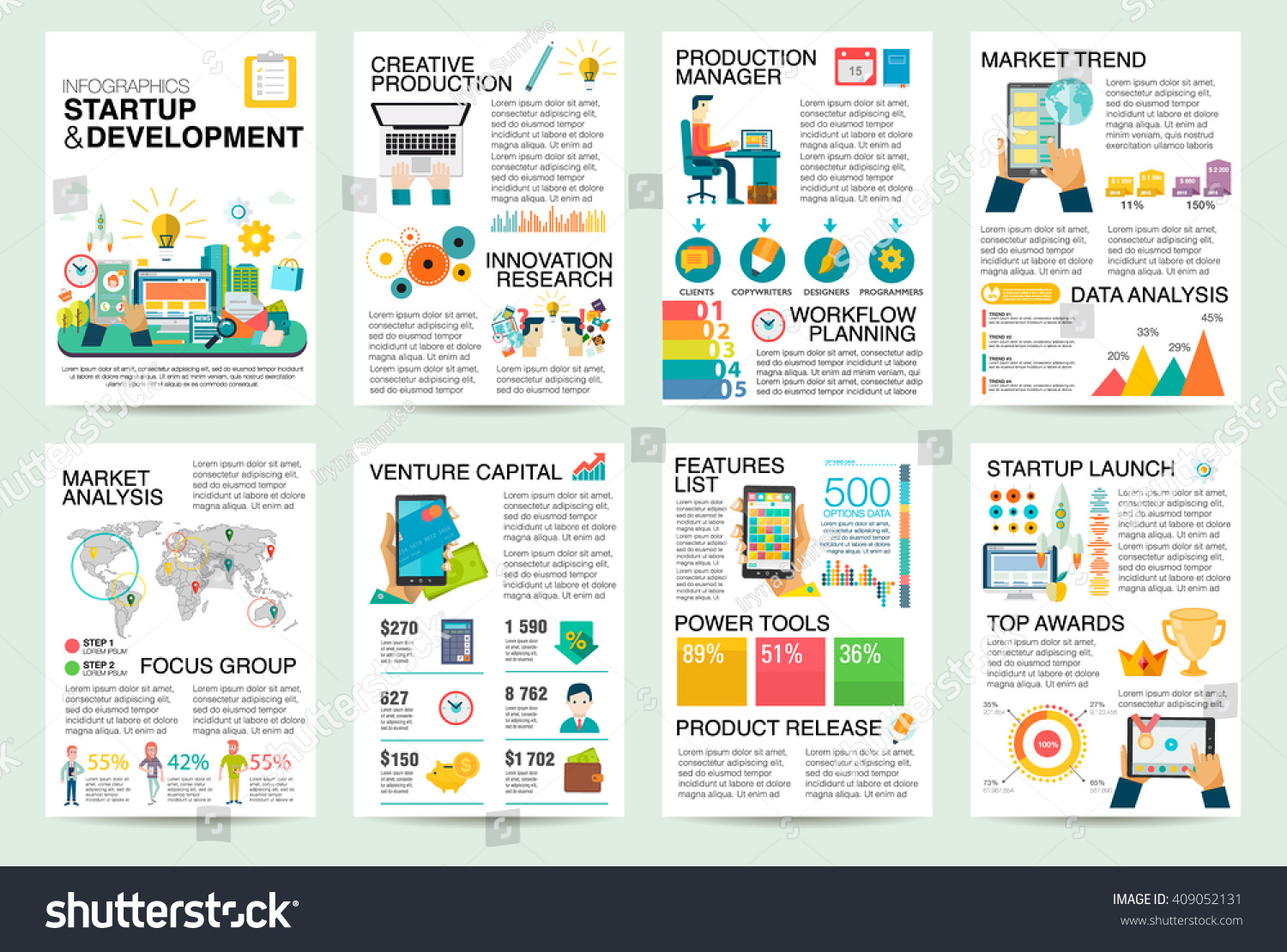 Modern flat infographics startup business launch stock for Product design business