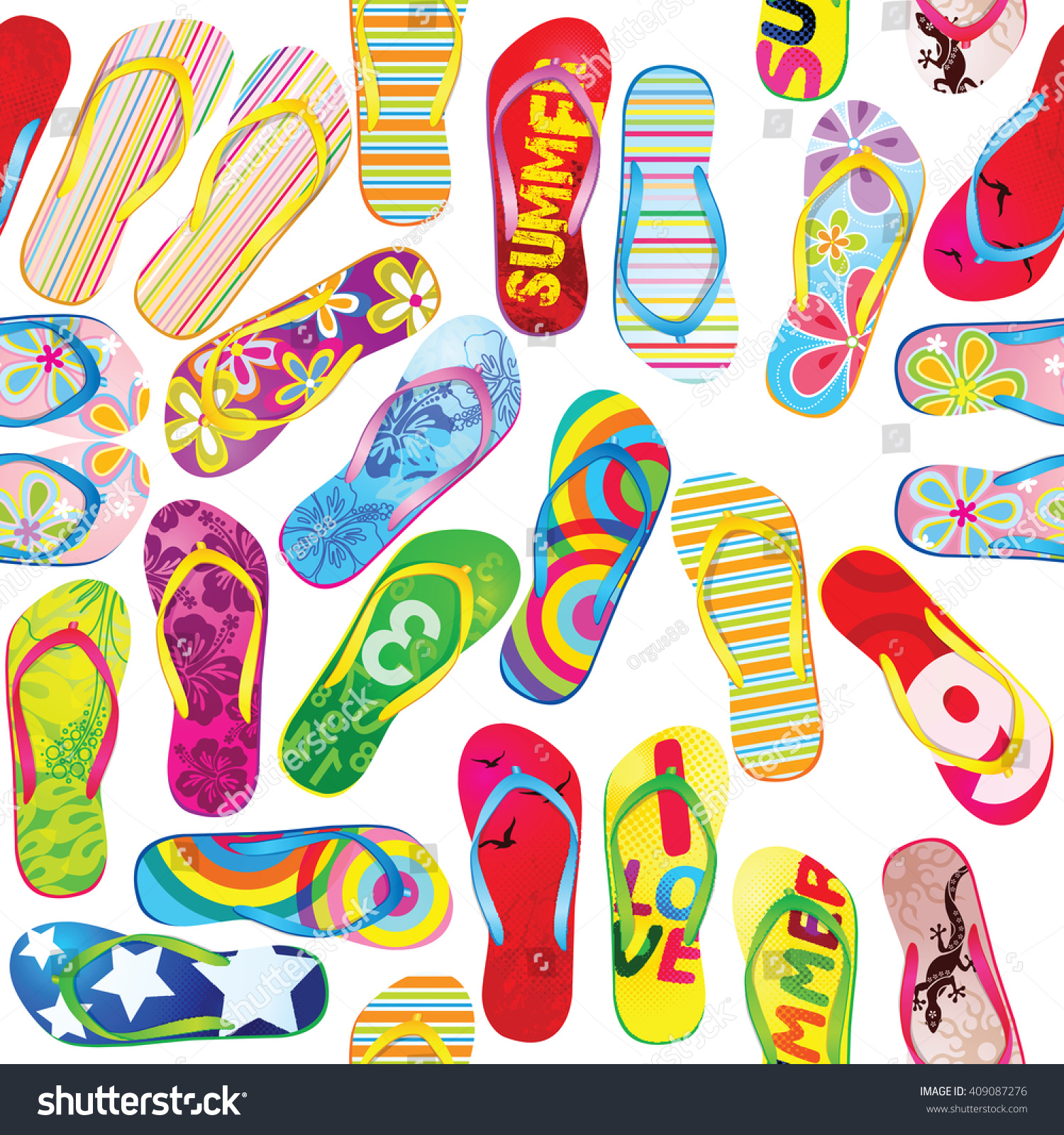 2c0f90eae057a Seamless Pattern Colorful Flip Flops Seamless Stock Vector (Royalty ...