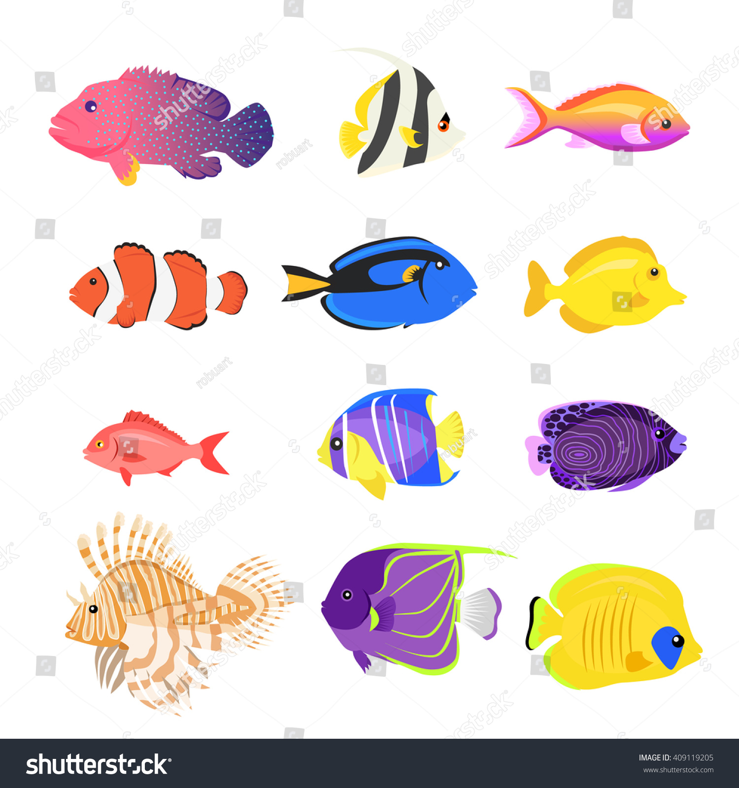 Set Sea Fish Color Design Flat Stock Vector 409119205 ...