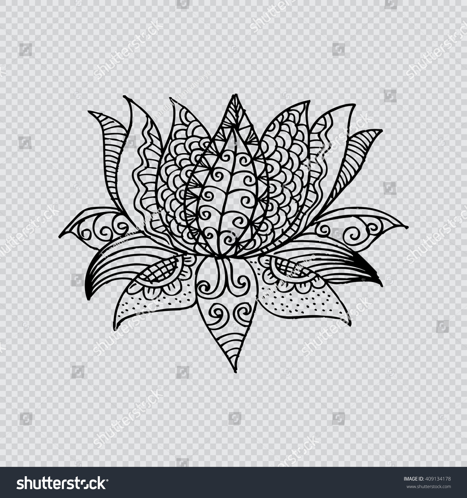 Royalty Free Lotus Flower Silhouette Water Lily 409134178 Stock