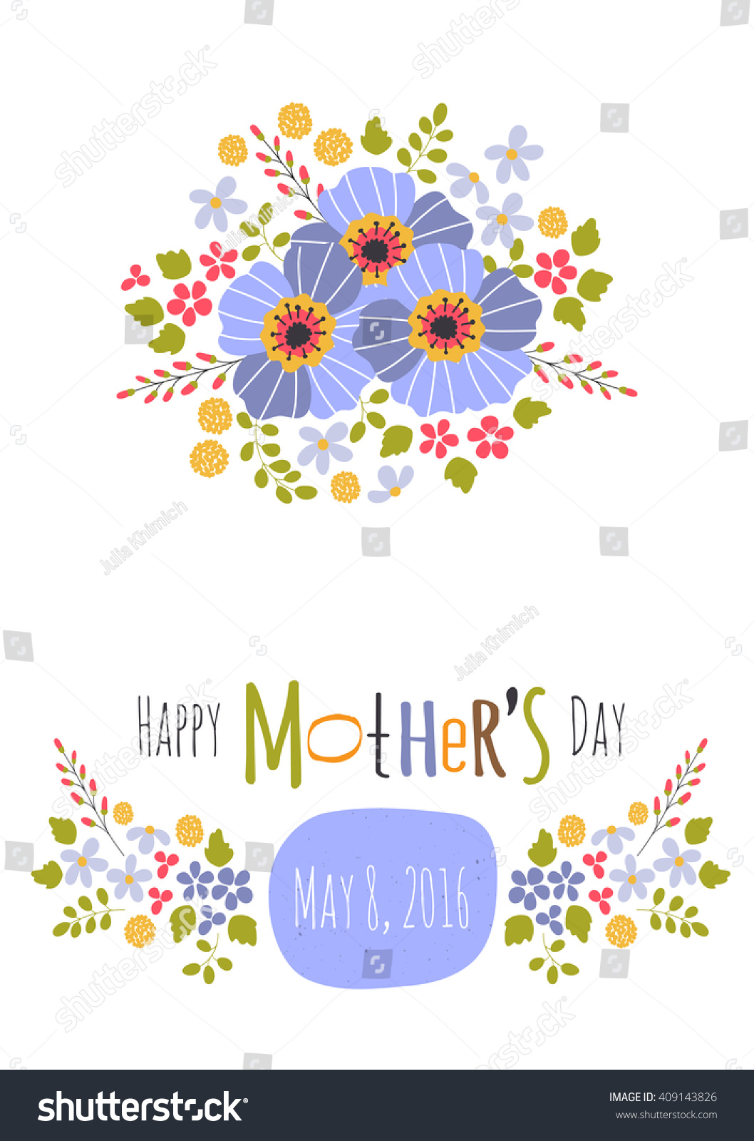 Vector Greeting Card Template Mothers Day Stock Vector Royalty Free