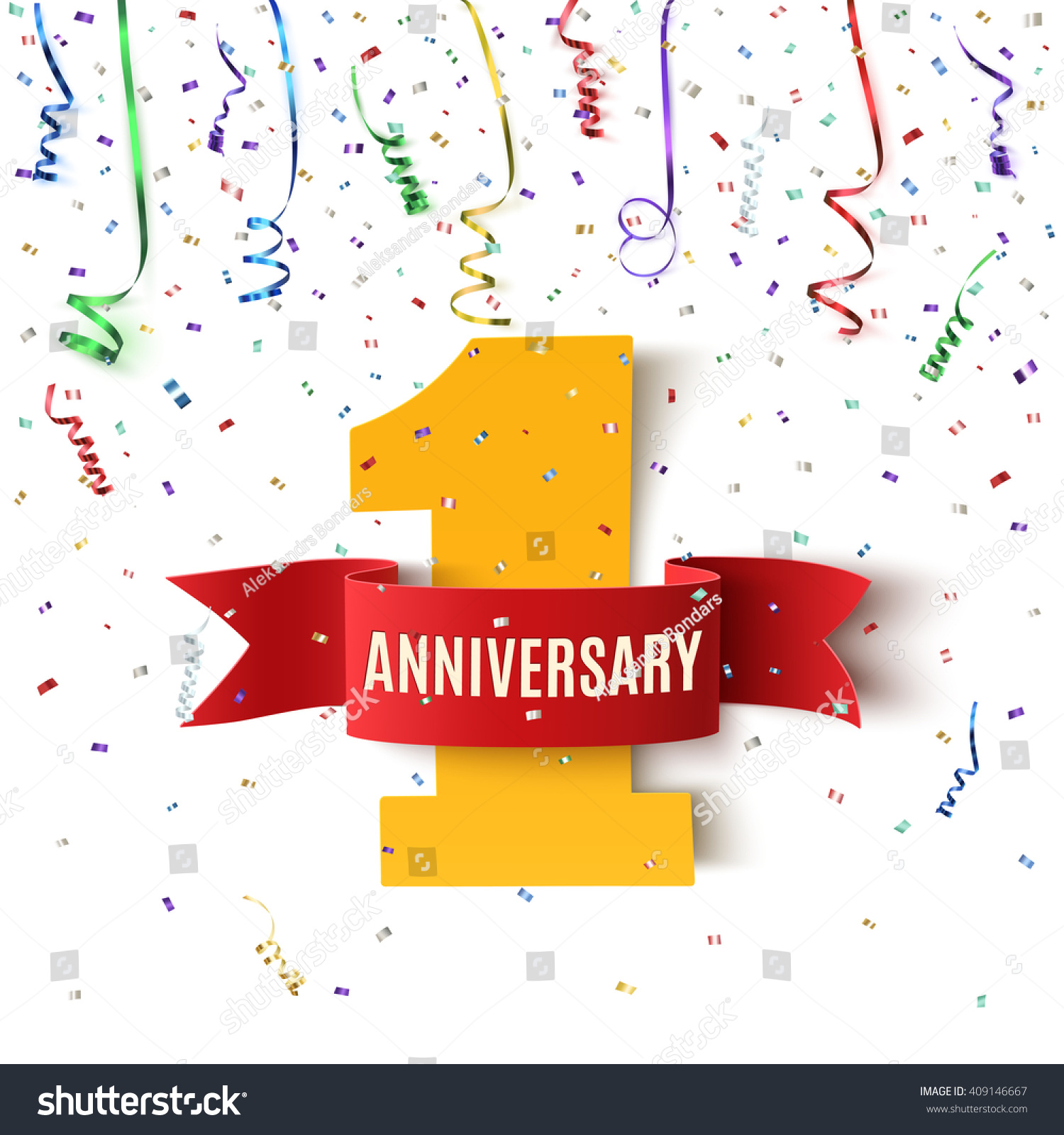 one year anniversary background ribbon stock vector