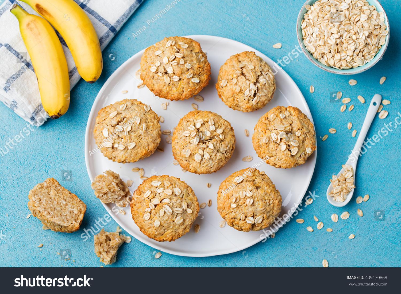 Healthy Vegan Oat Muffins Apple Banana Stock Photo