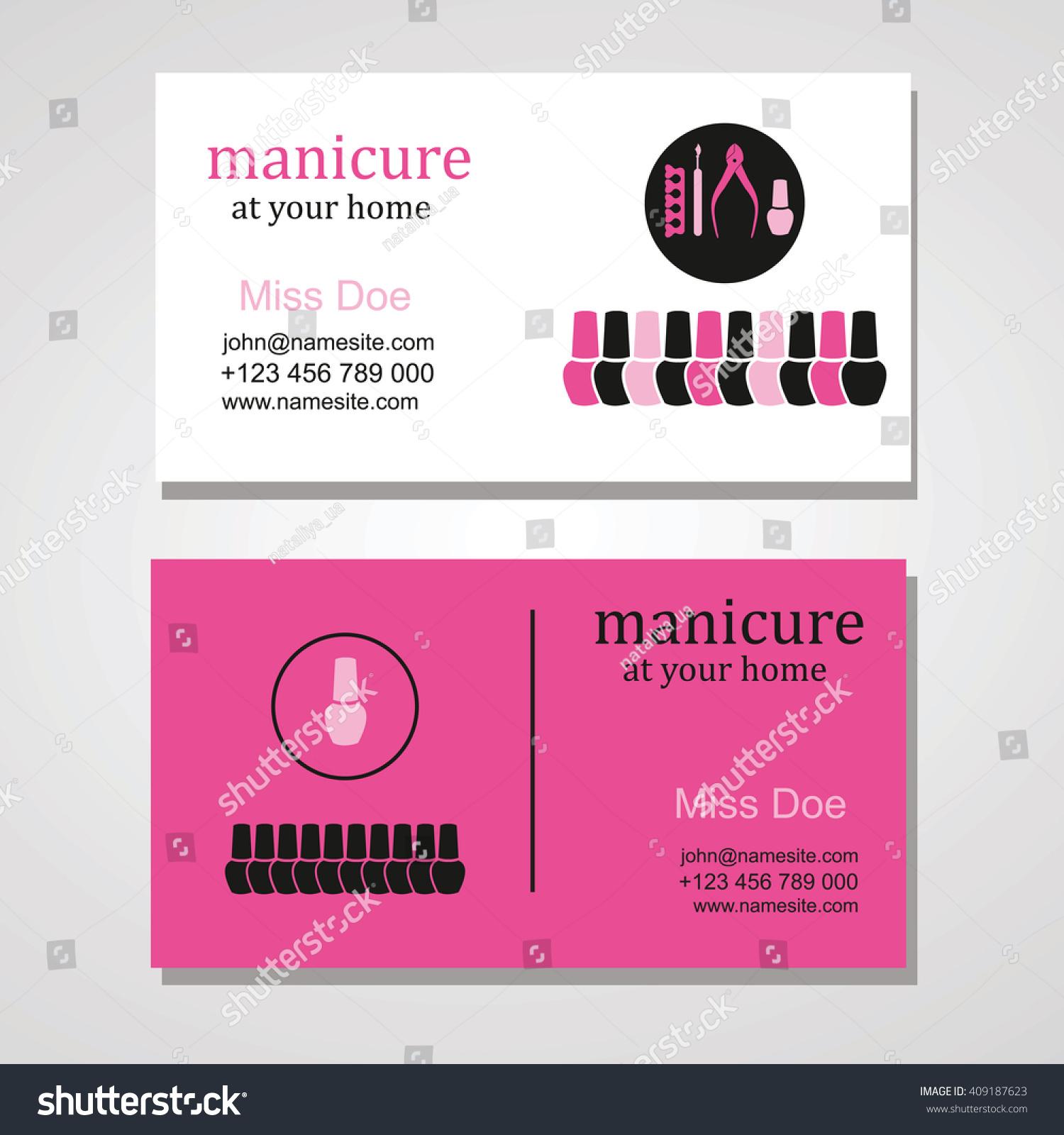 Manicure Salon Business Card Design Templates Stock Vector ...