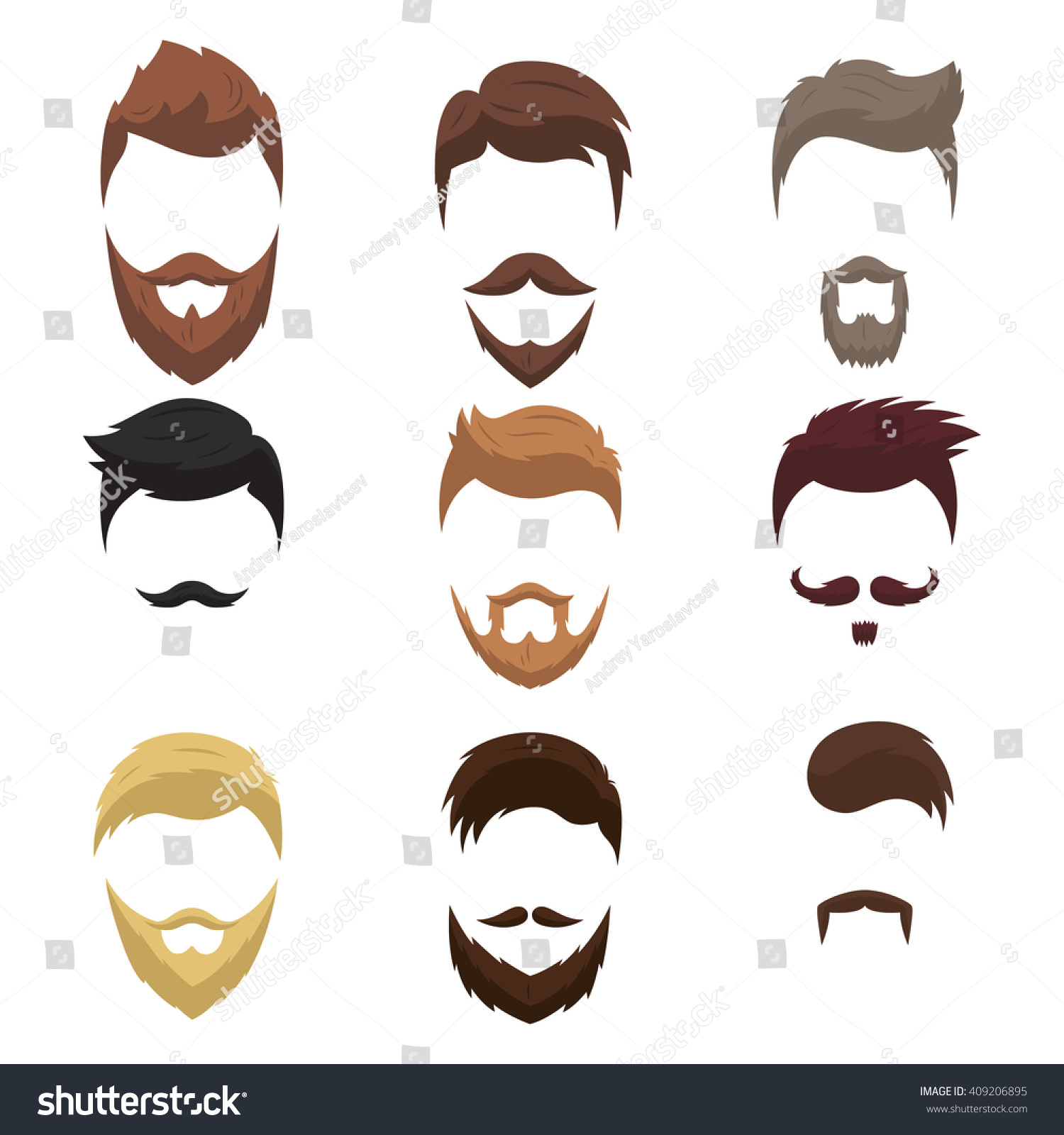 Set Men Cartoon Hairstyles Beards Mustache Imagem Vetorial ...