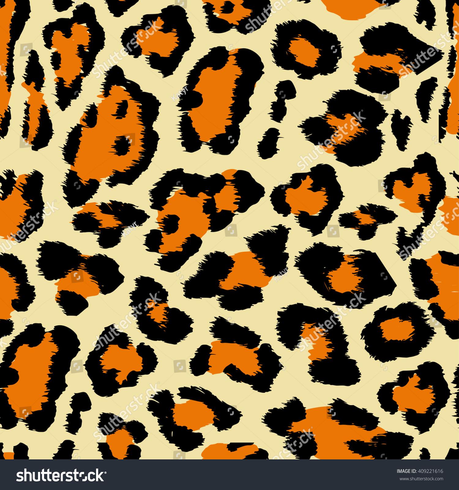 Vector Illustration Leopard Print Seamless Pattern Stock Vector