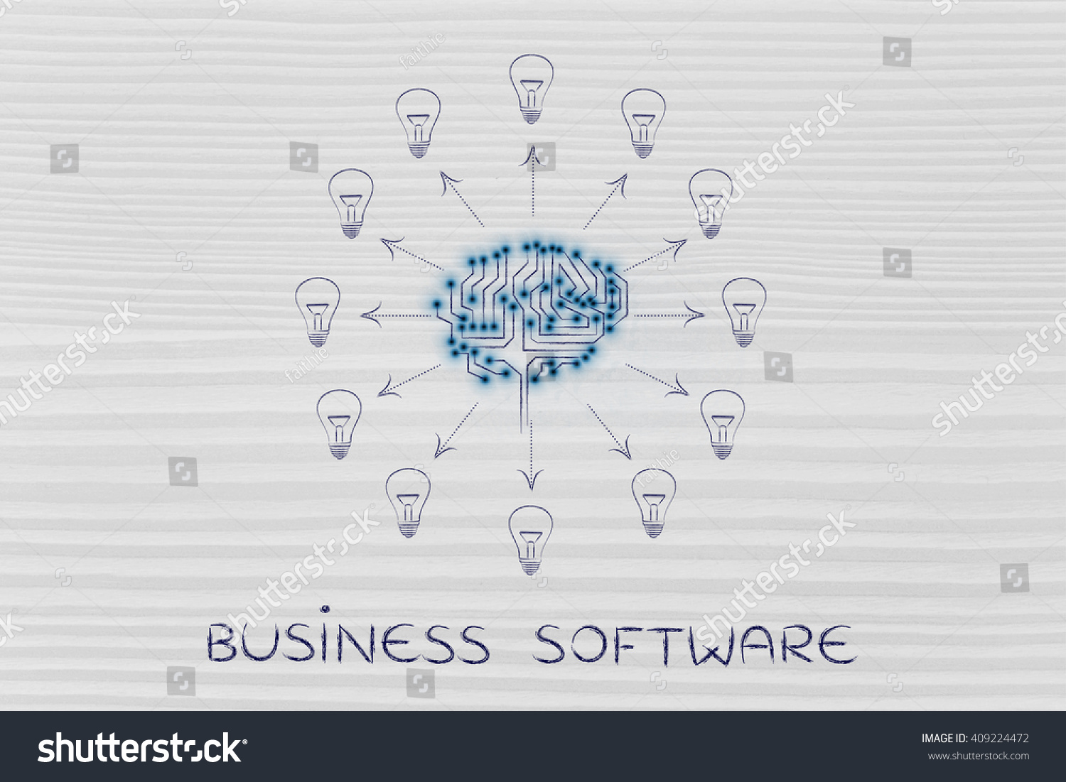 Business Software Electronic Circuit Brain Creating Stock Diagram Ideas With Arrows Pointing Out To Lightbulbs