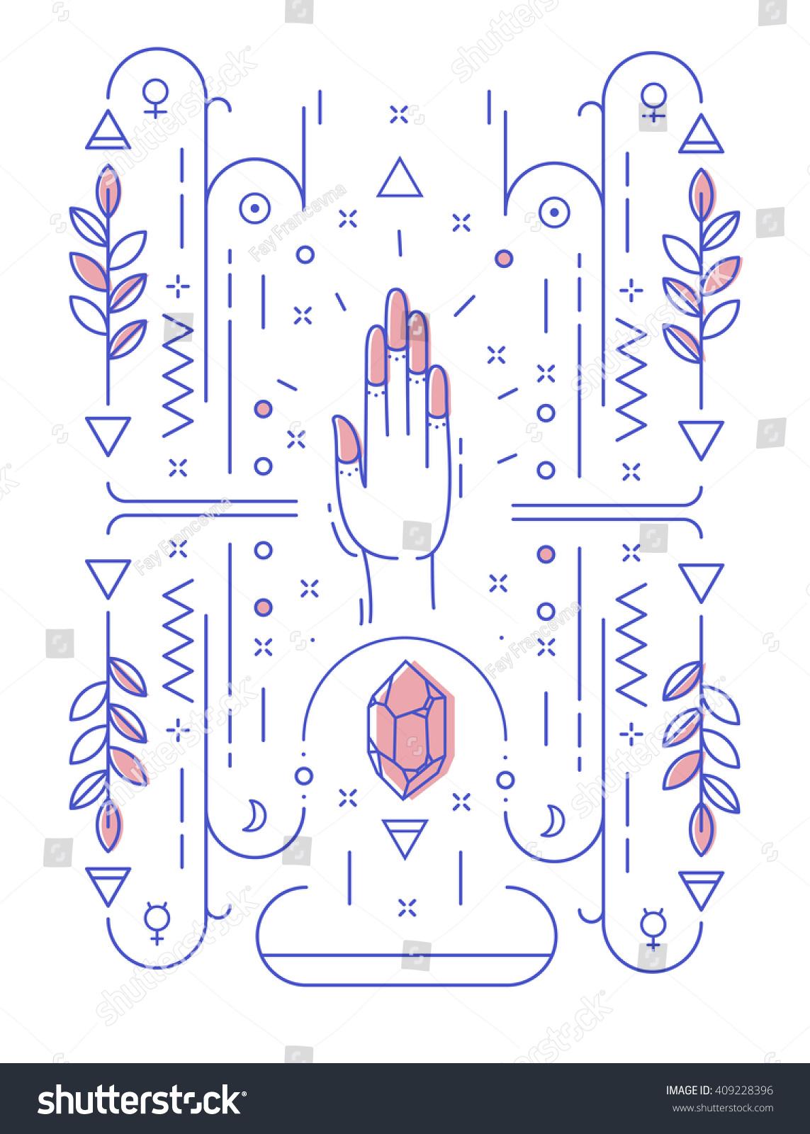 Abstract illustration geometric symbols hand no stock vector abstract illustration with geometric symbols and hand no hidden meaning biocorpaavc