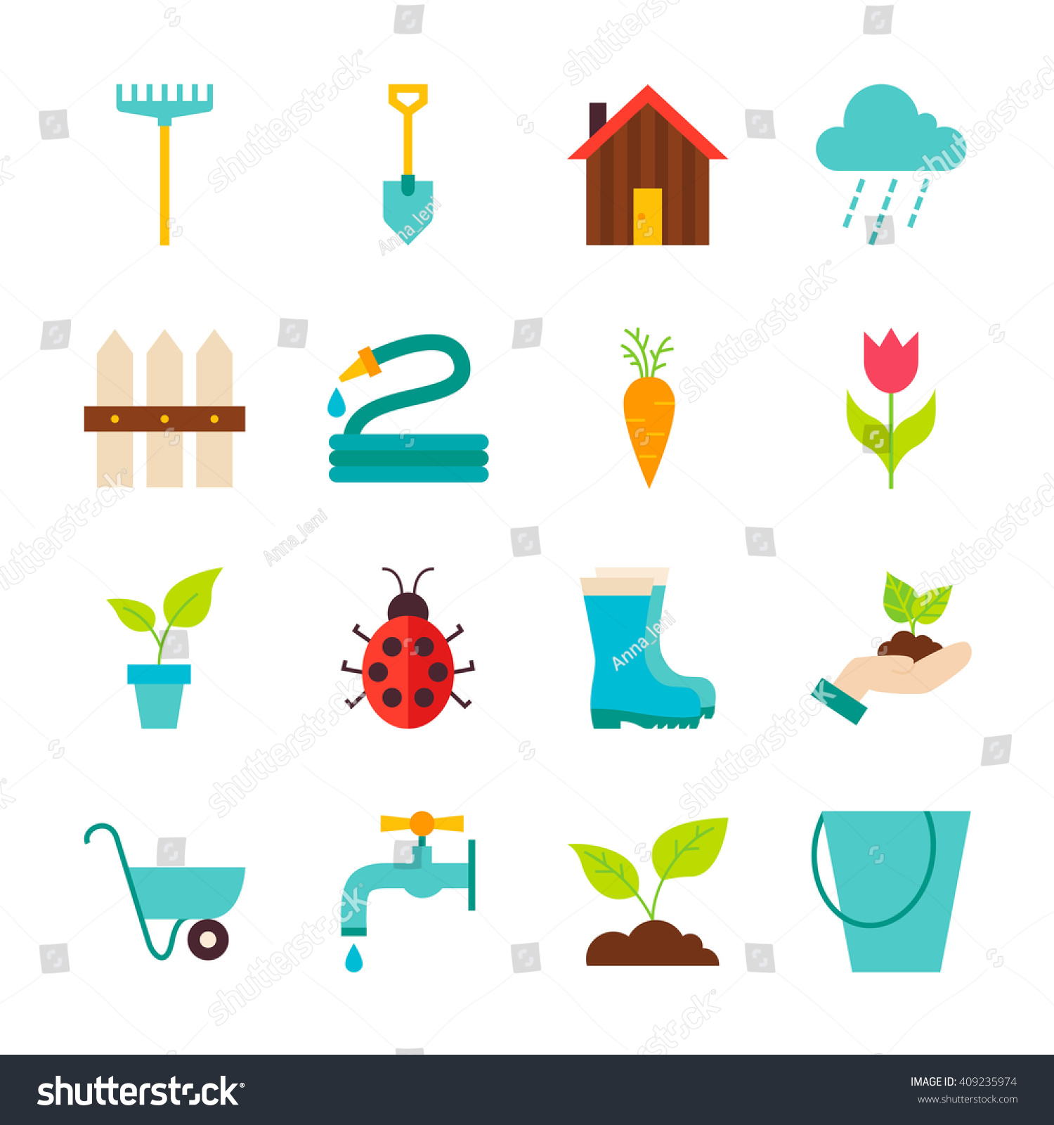 Marvelous Spring Garden Objects Set Isolated Over White. Flat Design Vector  Illustration. Collection Of Nature