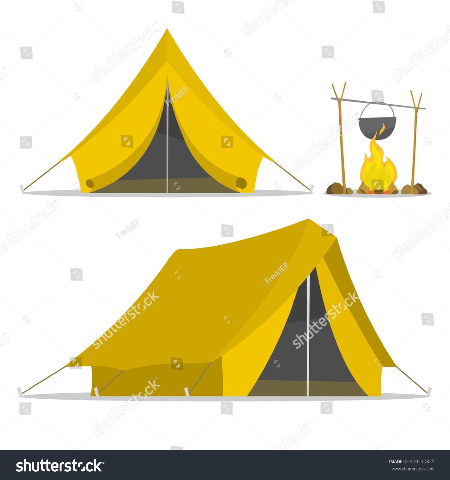 Cartoon Tent Set Bonfire Isolated Sports Stock Vector ...