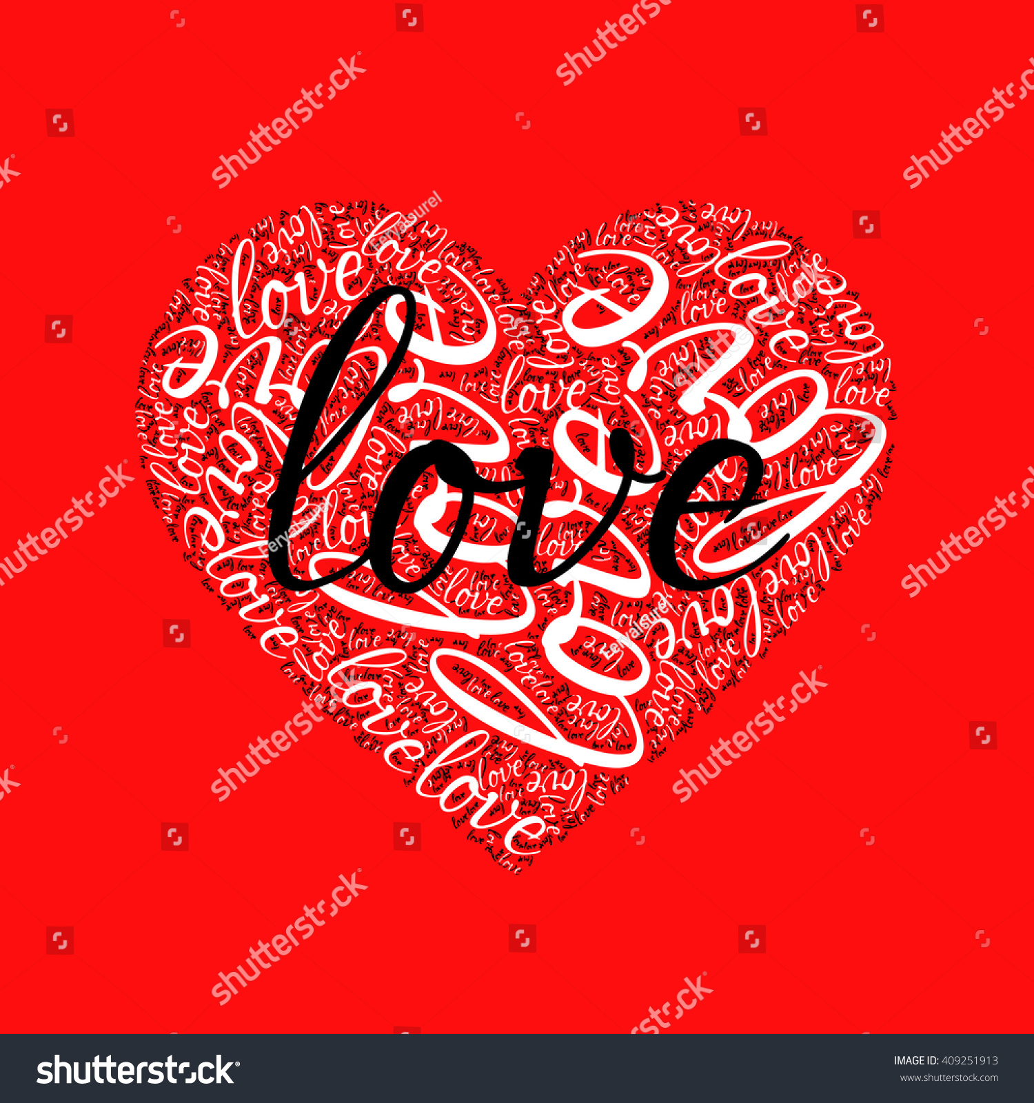 Red Background Black Love Words Love Stock Vector (Royalty Free