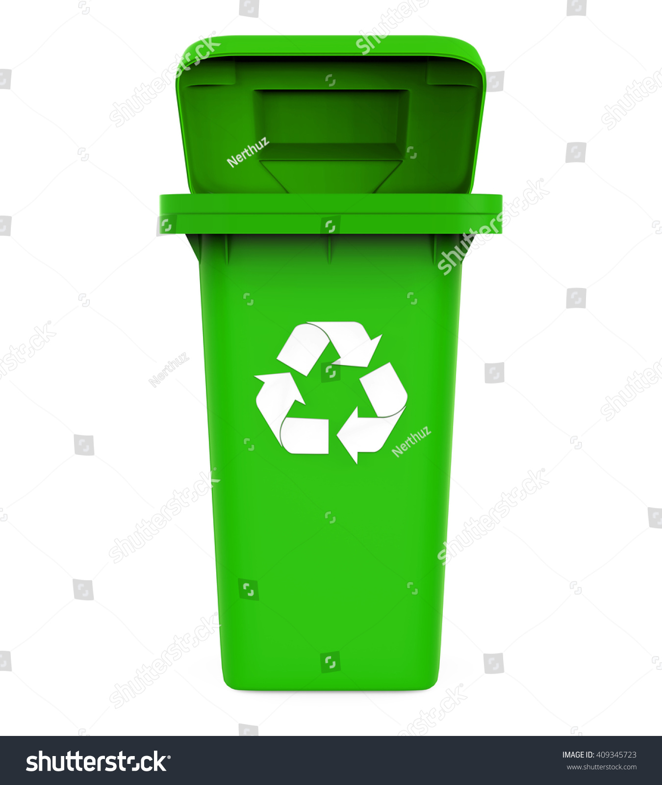 garbage trash bin with recycle symbol isolated on white background 3d render