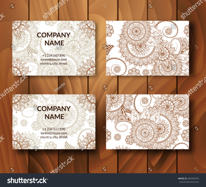 Vintage Business Cards Set Ornamental Mandala Stock Vector ...