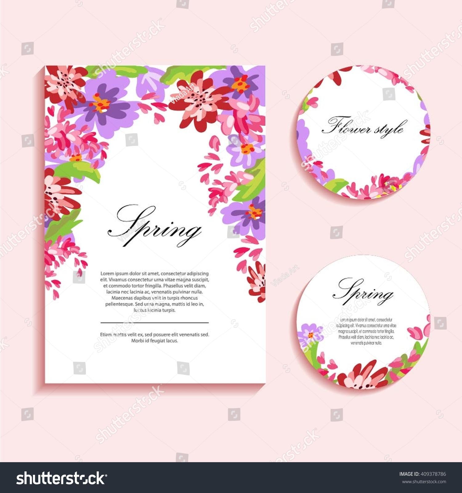 Flower Illustration Greeting Cards Congratulations Wedding Stock