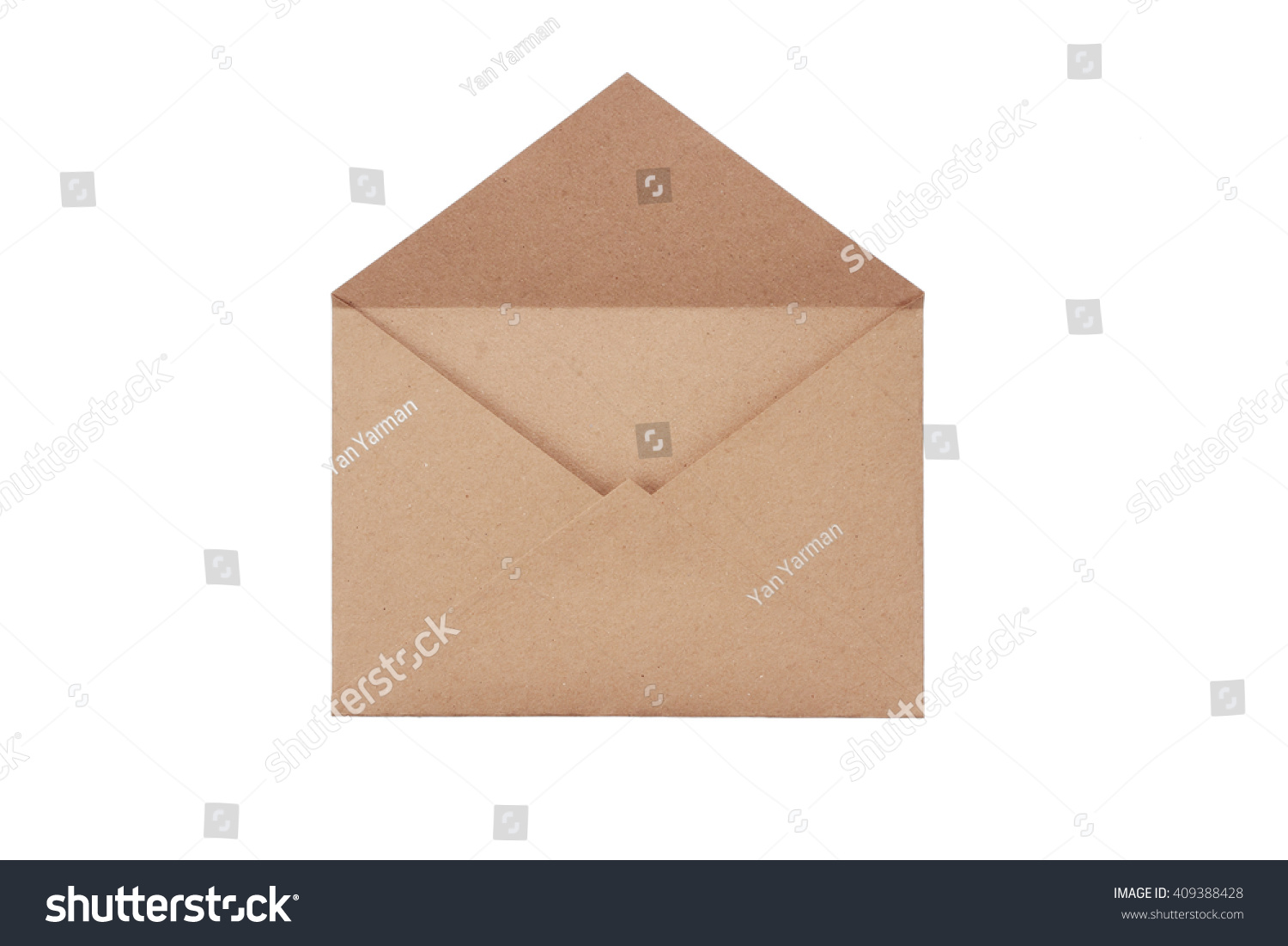 Brown craft envelope isolated on white background