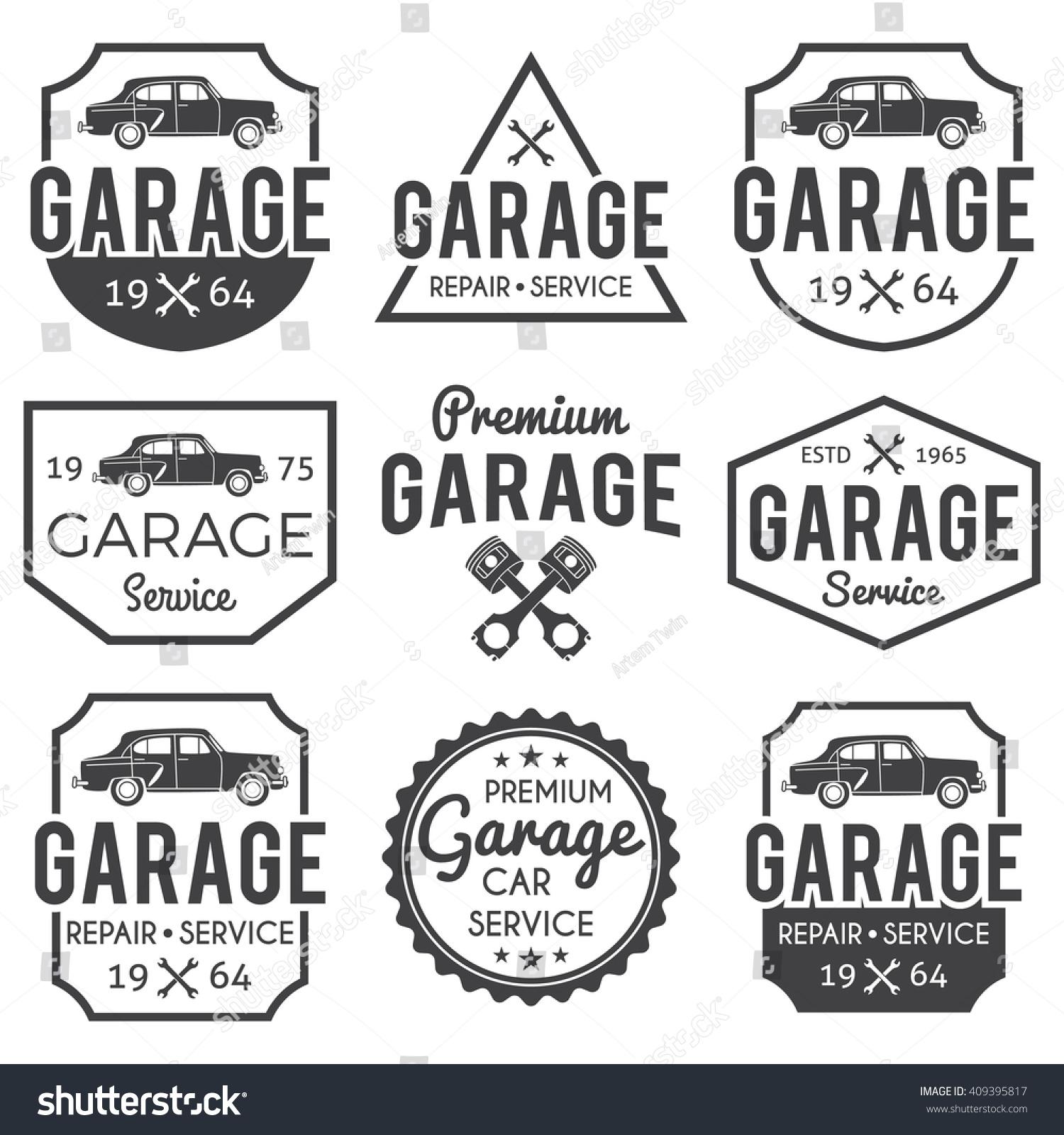 Garage Badge Set Monochrome, Garage Badge Eps10, Garage