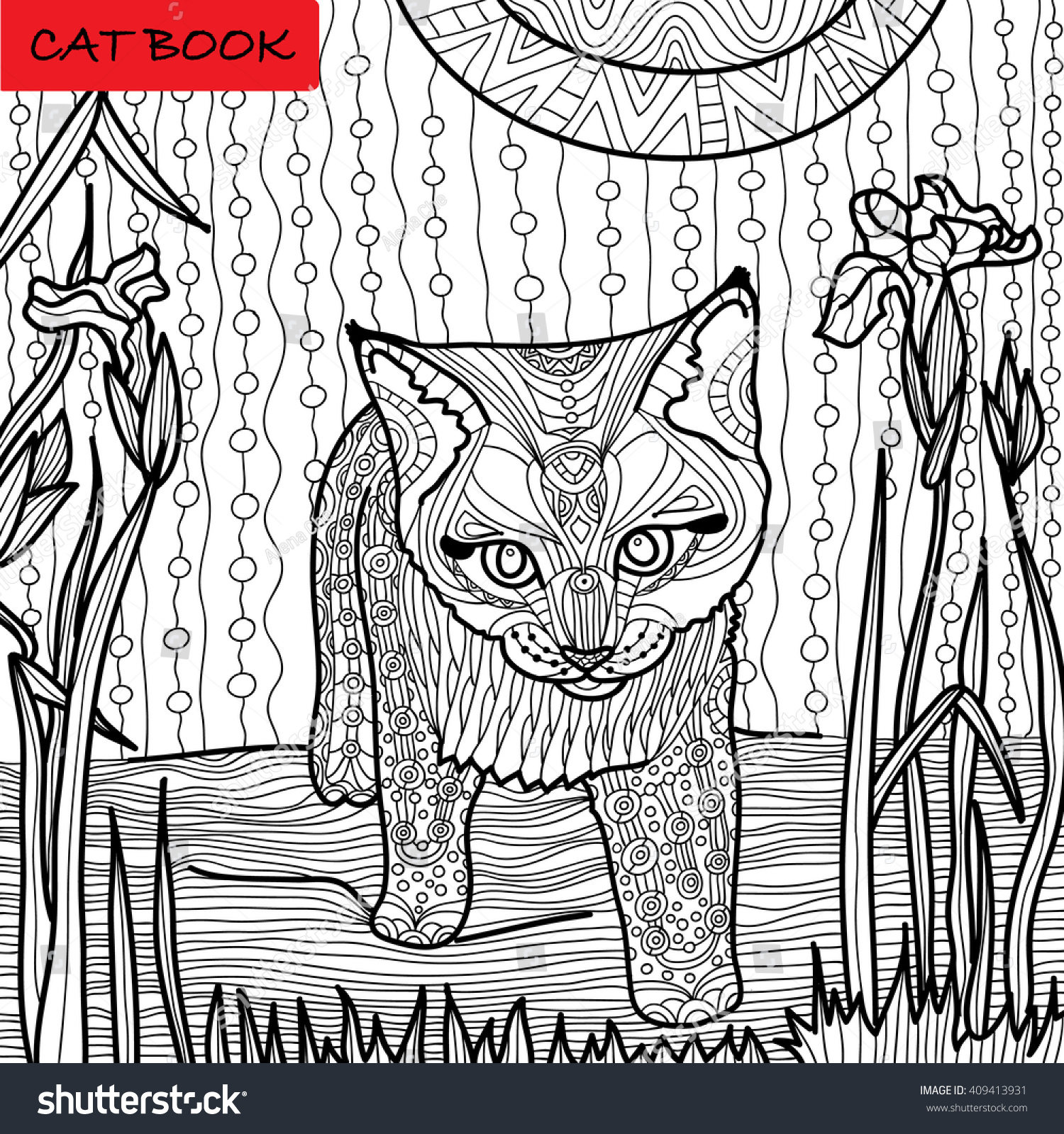 Coloring Page Adults Surprised Kittens Great Stock Vector HD ...