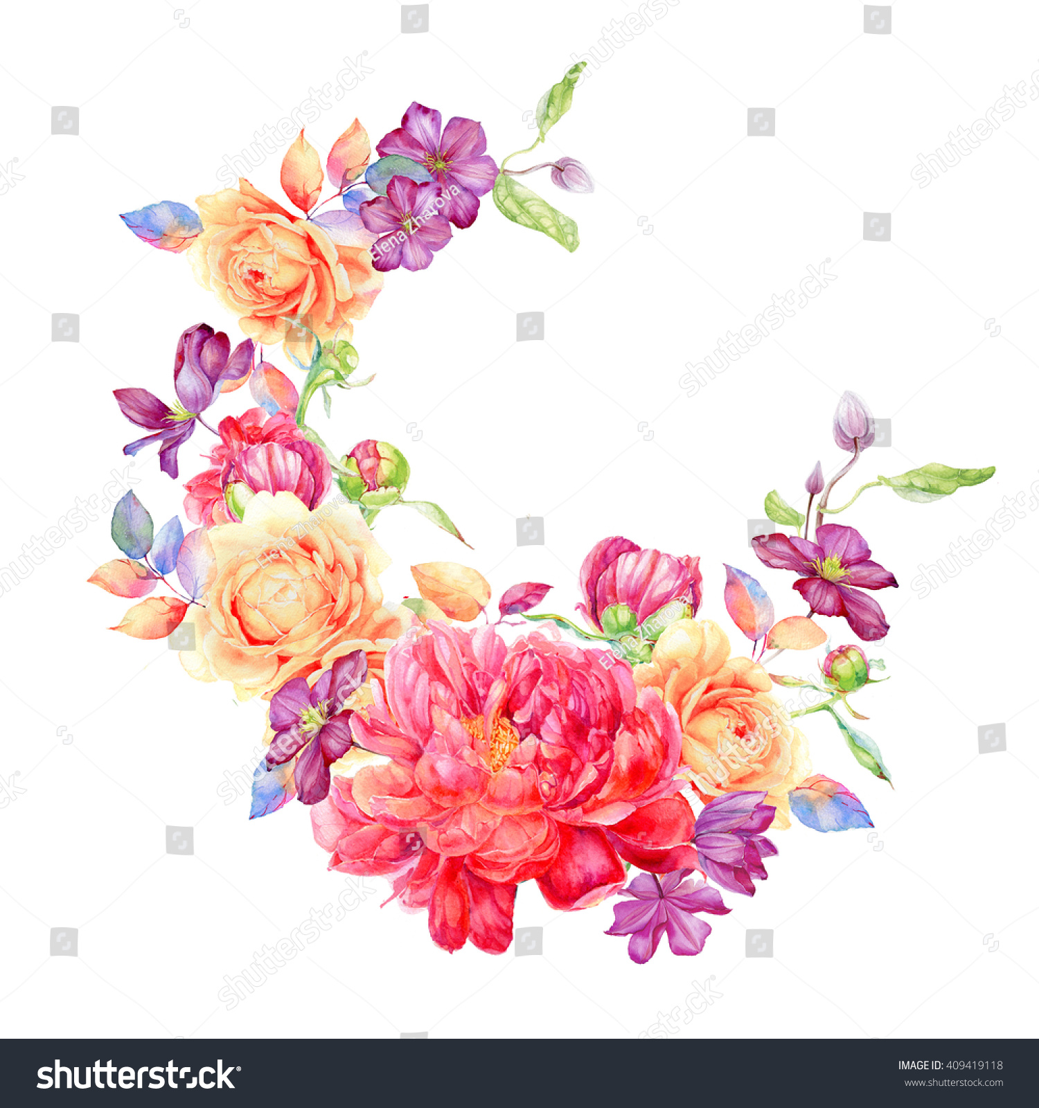 Greeting Card Flowers Watercolor Can Be Stock Illustration 409419118
