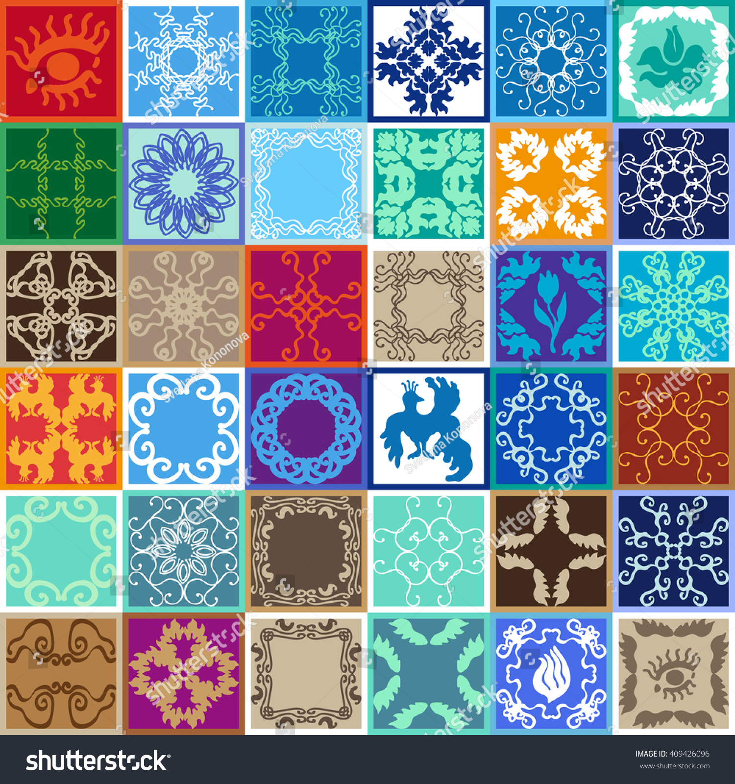 Set Glazed Ceramic Tiles Colorful Tiled Stock Photo (Photo, Vector ...