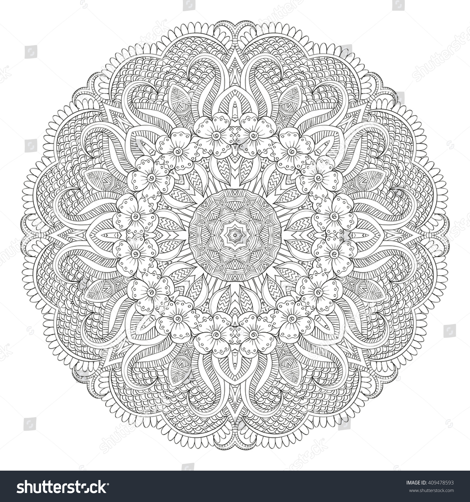 Flower Mandala Abstract Vector Ornaments Ethnic Stock Vector 409478593