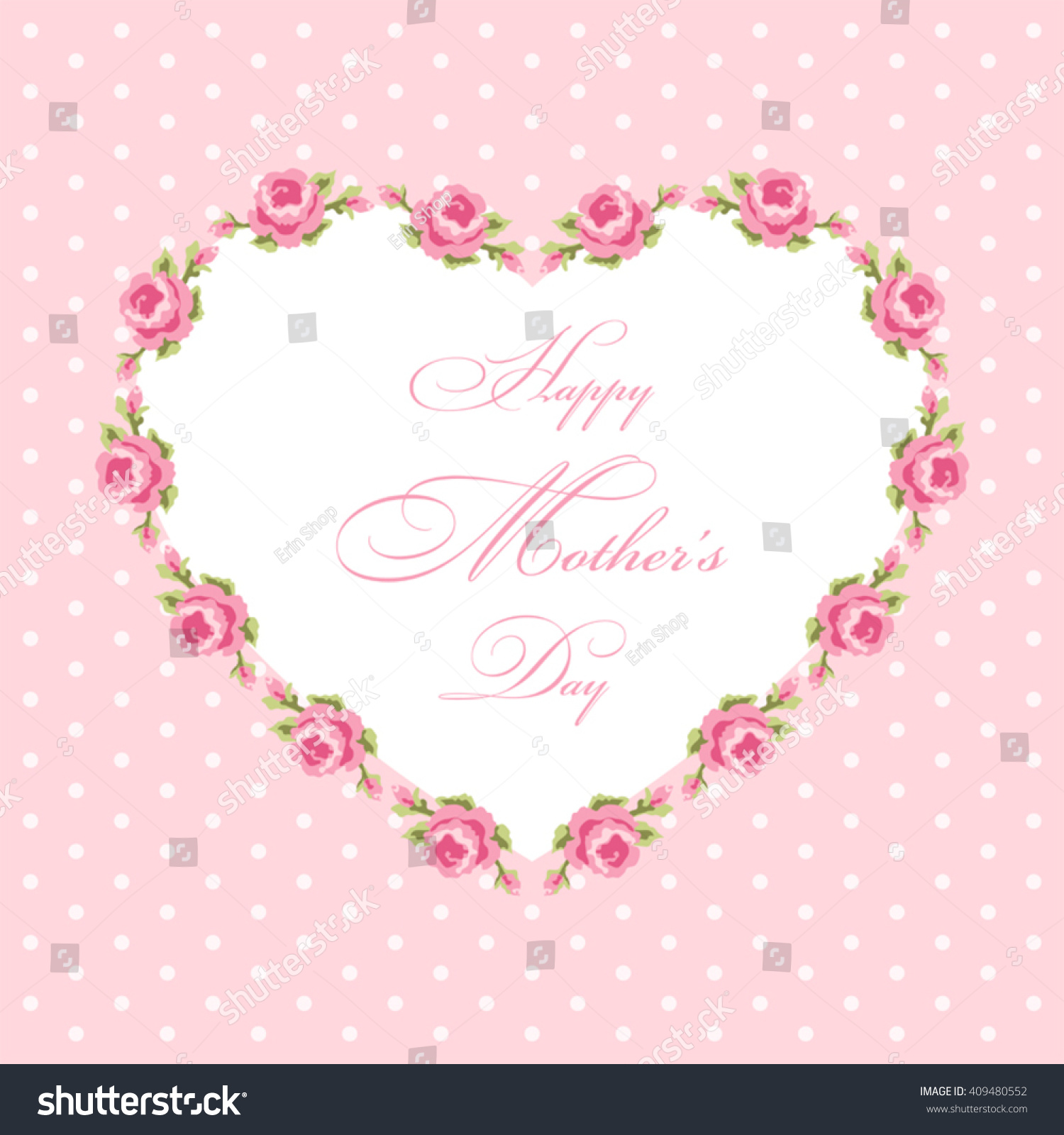 Cute Mothers Day card with heart shaped roses frame in shabby chic ...