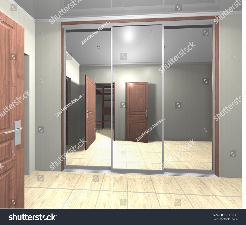 3 D Rendering Wardrobe Mirrored Sliding Doors Stock Illustration