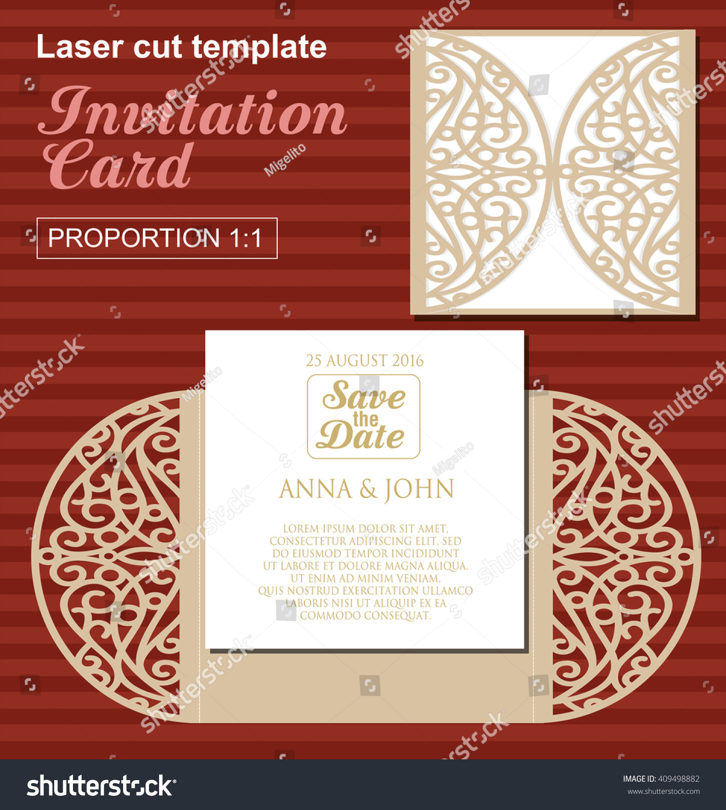 Vector Die Laser Cut Wedding Card Stock Vector (2018) 409498882 ...