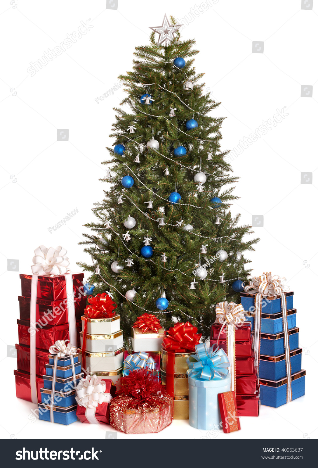 christmas tree with silver blue ball group gift box. Black Bedroom Furniture Sets. Home Design Ideas